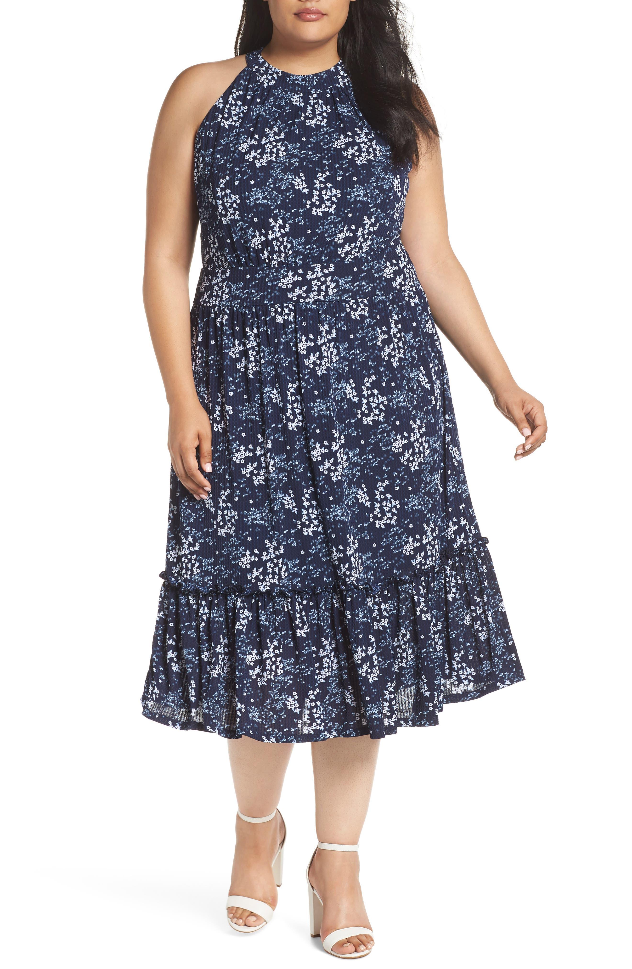 Floral Tiered Midi Halter Dress,                             Main thumbnail 1, color,                             True Navy/ Light Chambray