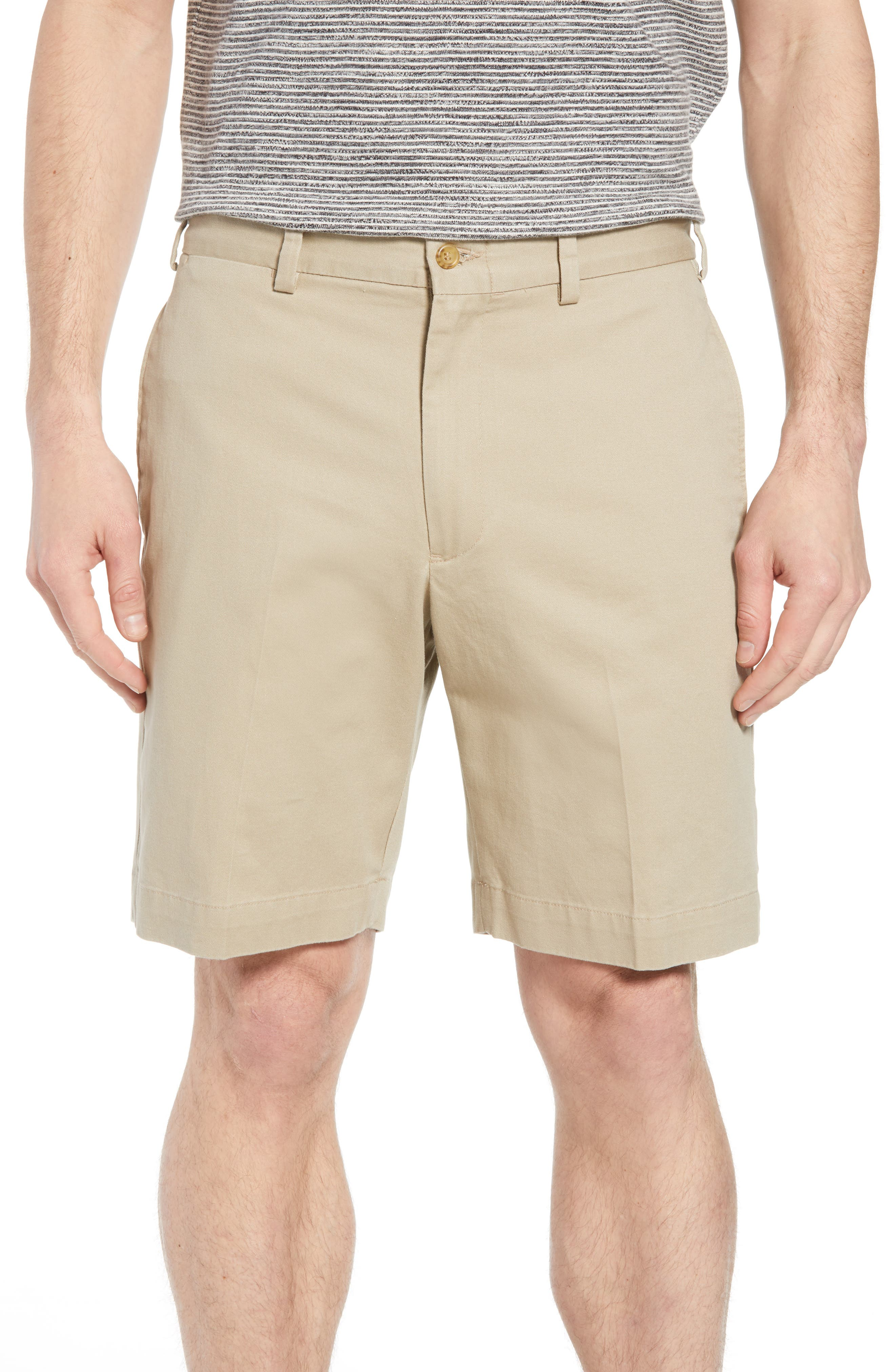 M2 Classic Fit Vintage Twill Flat Front Shorts,                         Main,                         color, Khaki