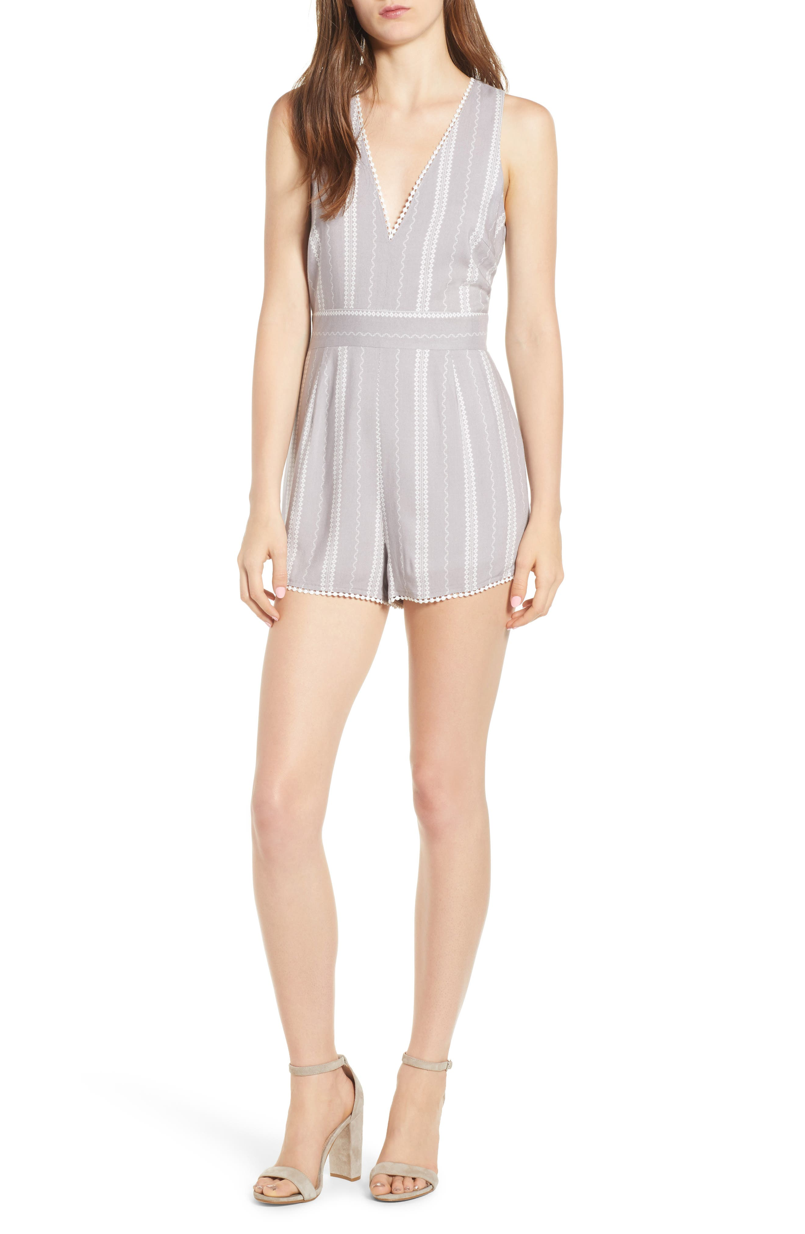 Trim Detail Romper,                         Main,                         color, Purple Shade Embroidery Print
