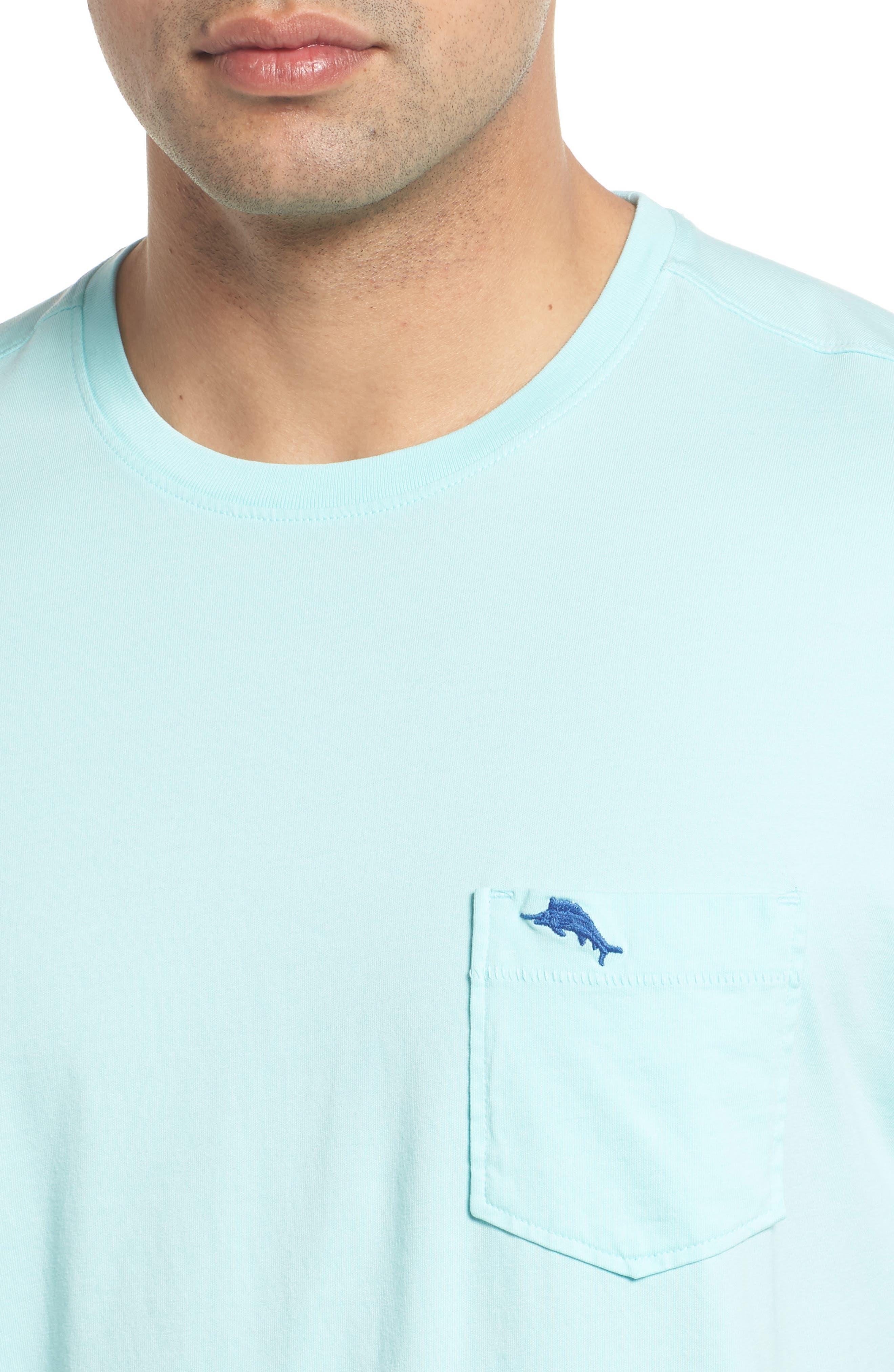 'New Bali Sky' Original Fit Crewneck Pocket T-Shirt,                             Alternate thumbnail 4, color,                             Aqua Mist