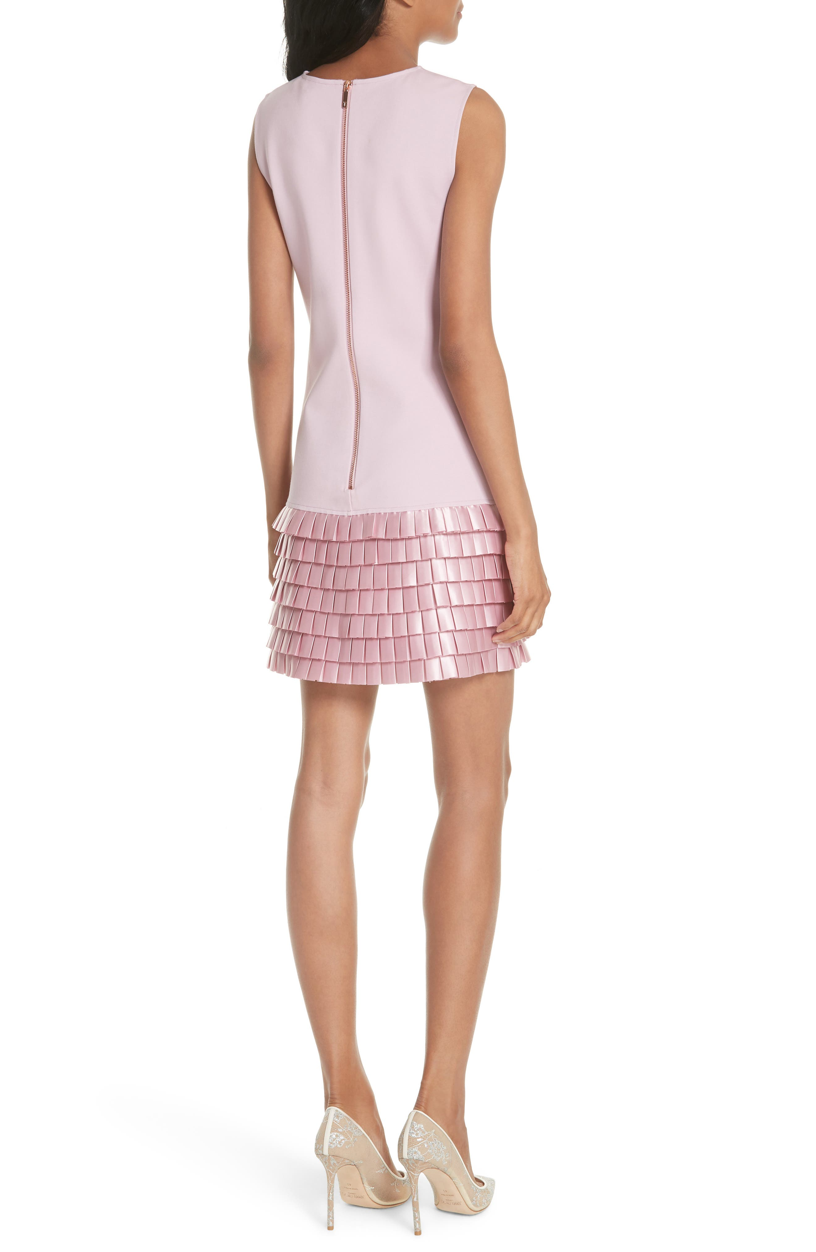 Satin Pleat Detail Shift Dress,                             Alternate thumbnail 2, color,                             Pale Pink