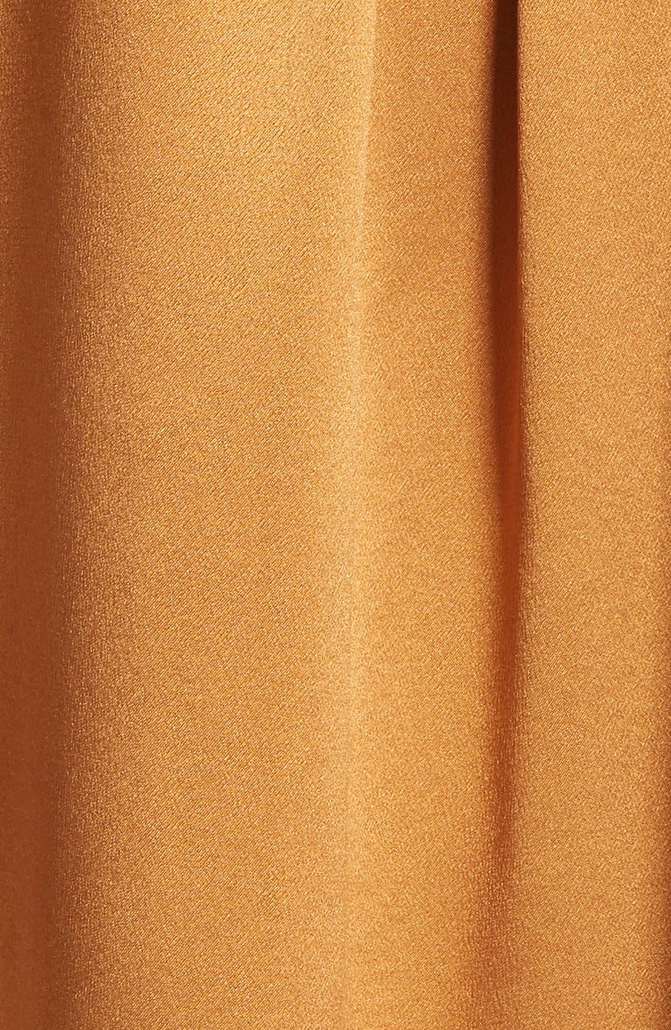 Shirred Neck Silk Top,                             Alternate thumbnail 5, color,                             Turmeric