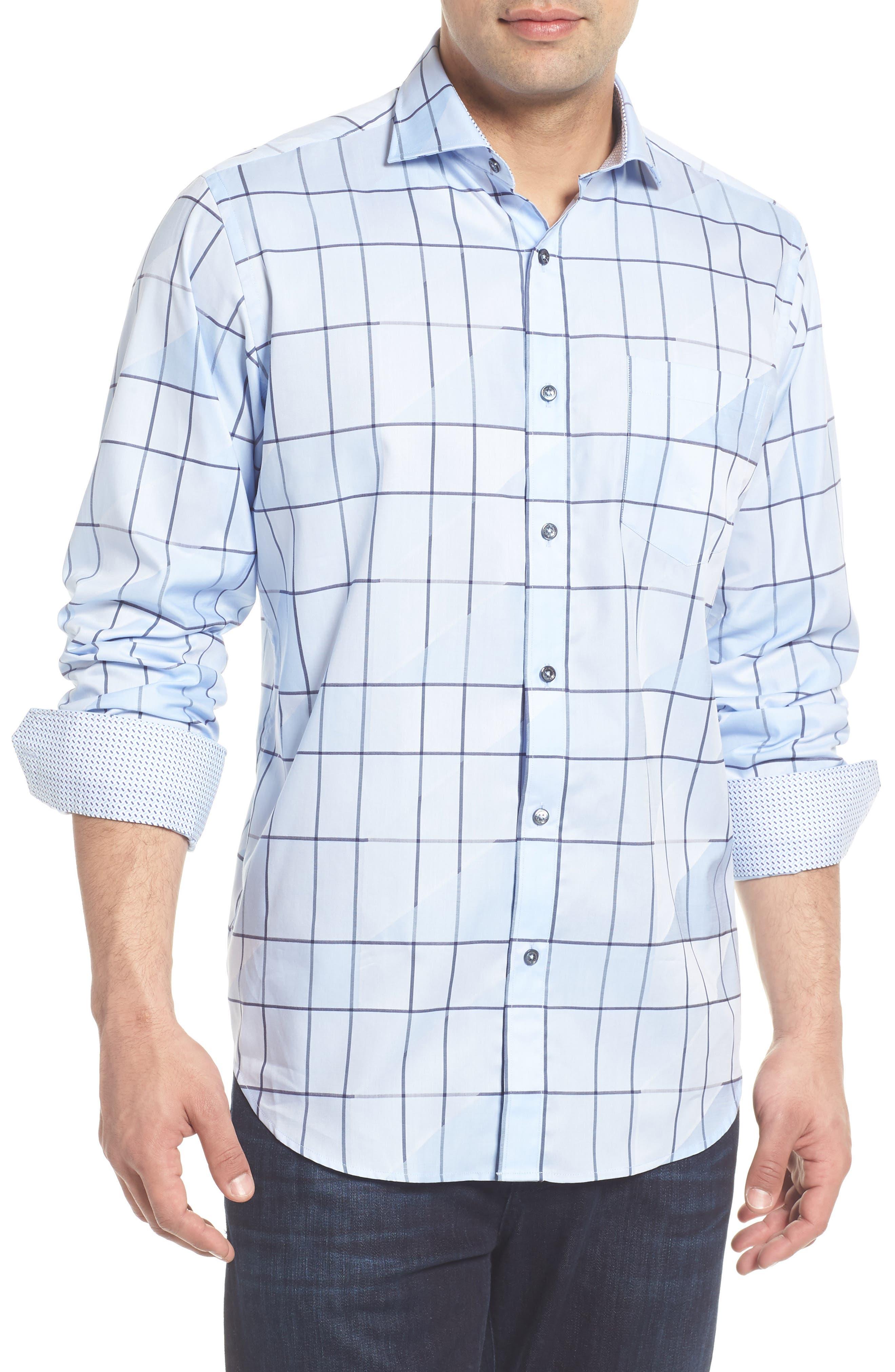 Classic Fit Jacquard Check Sport Shirt,                         Main,                         color, Sky