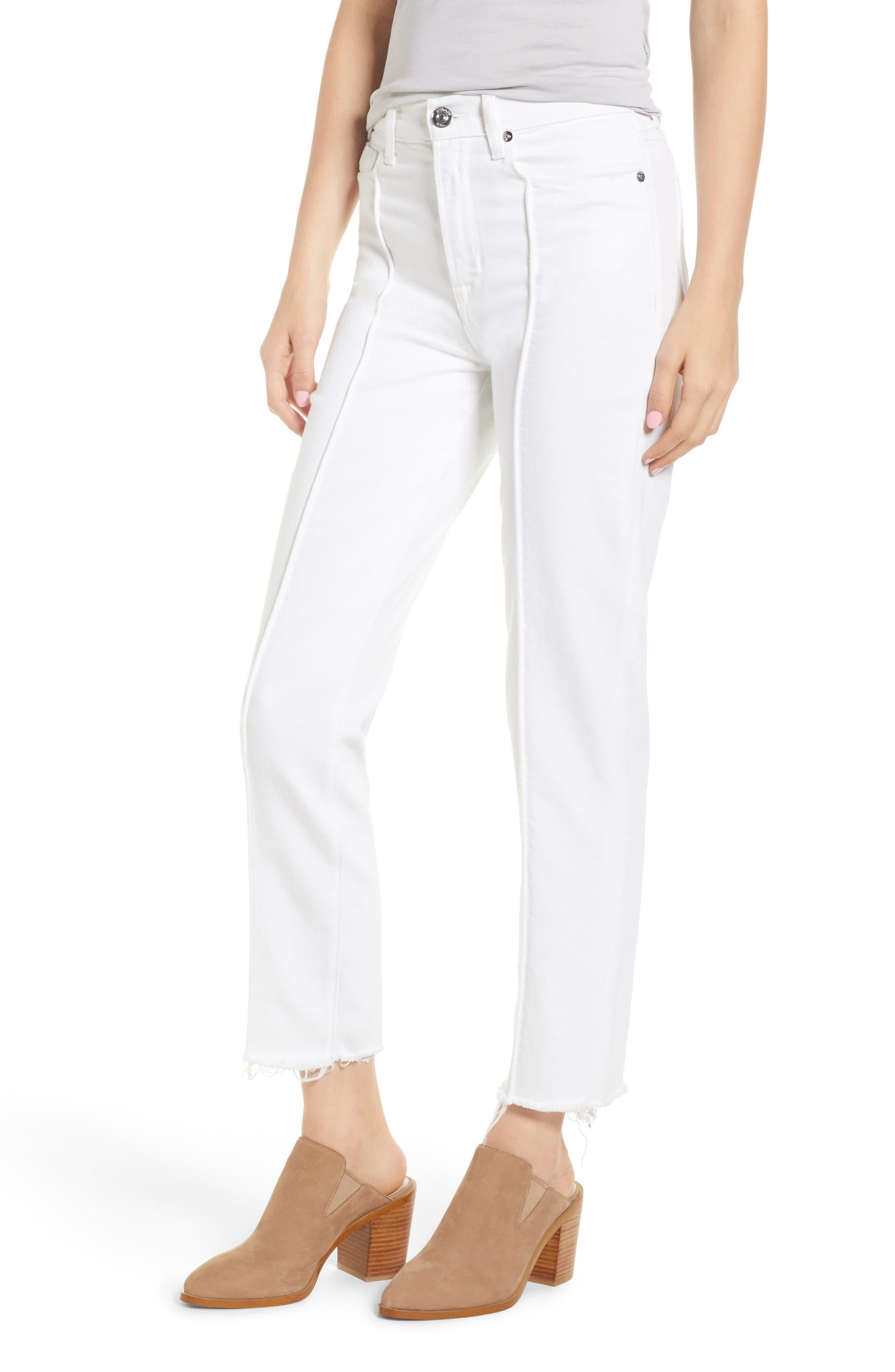 Zoeey Pintuck High Waist Crop Straight Leg Jeans,                         Main,                         color, White