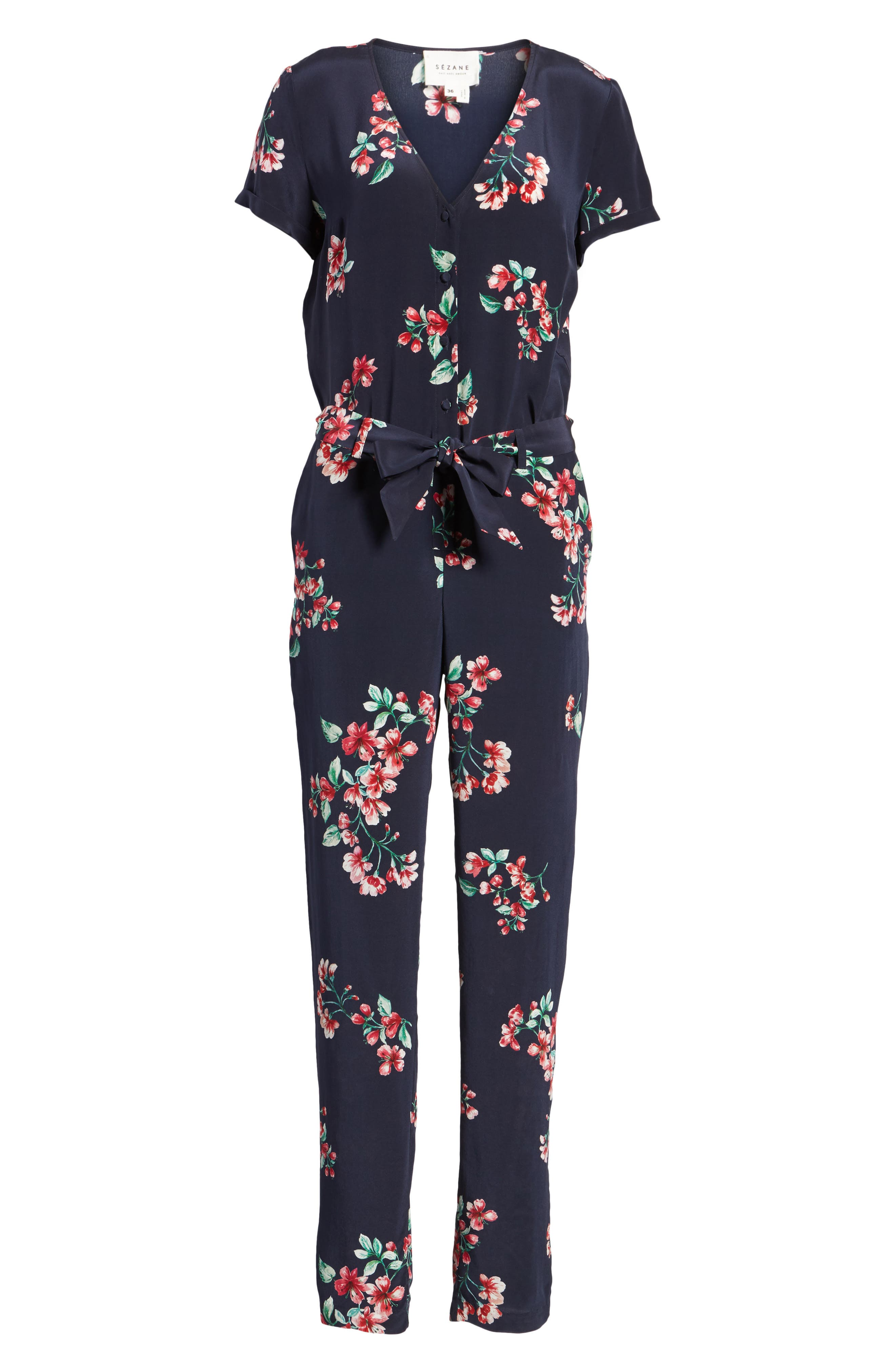 Ava Floral Silk Jumpsuit,                             Alternate thumbnail 7, color,                             Bouquet Print On Navy Blue