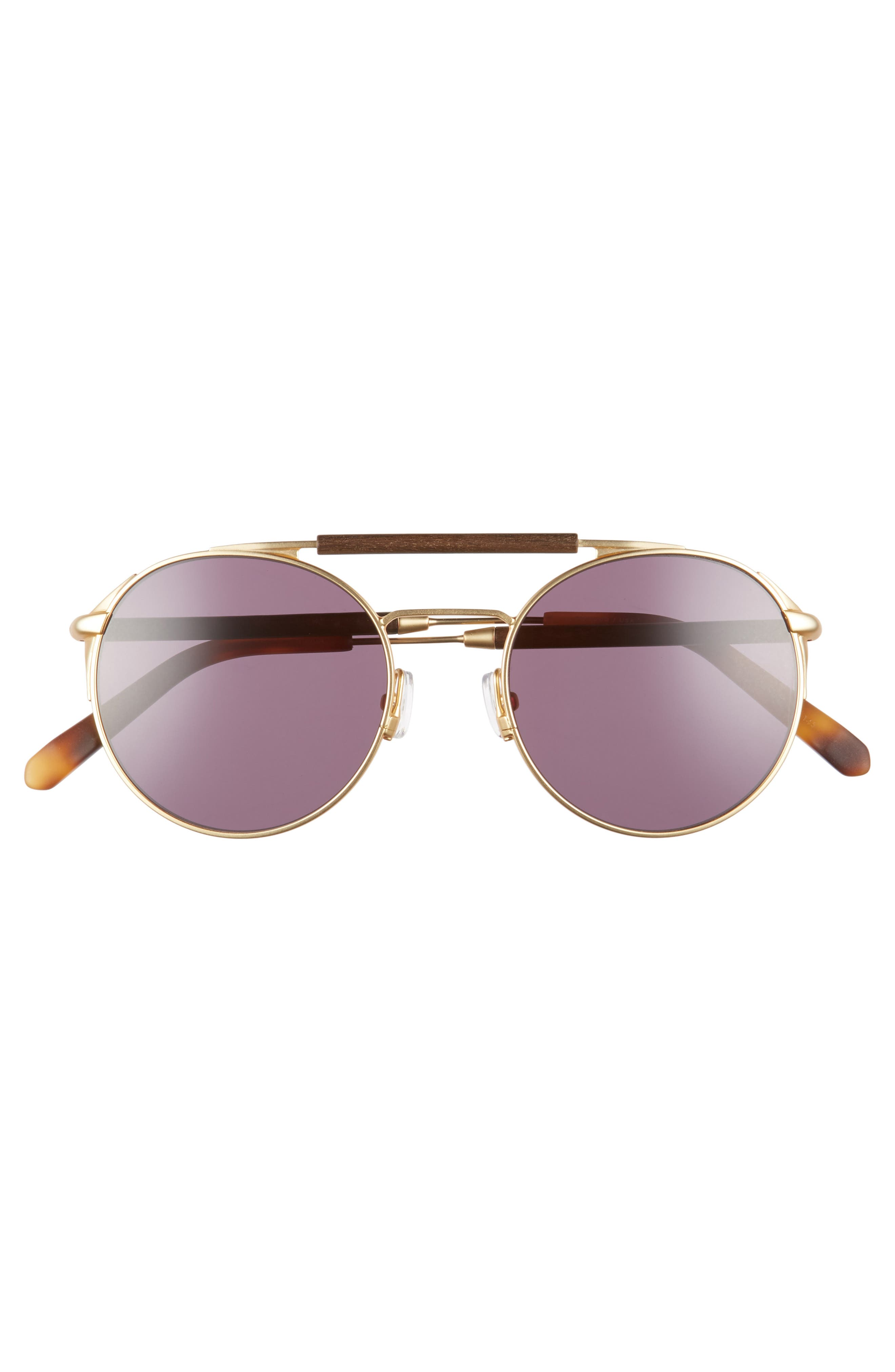 Bandon 52mm Round Sunglasses,                             Alternate thumbnail 2, color,                             Matte Gold/ Walnut/ Grey