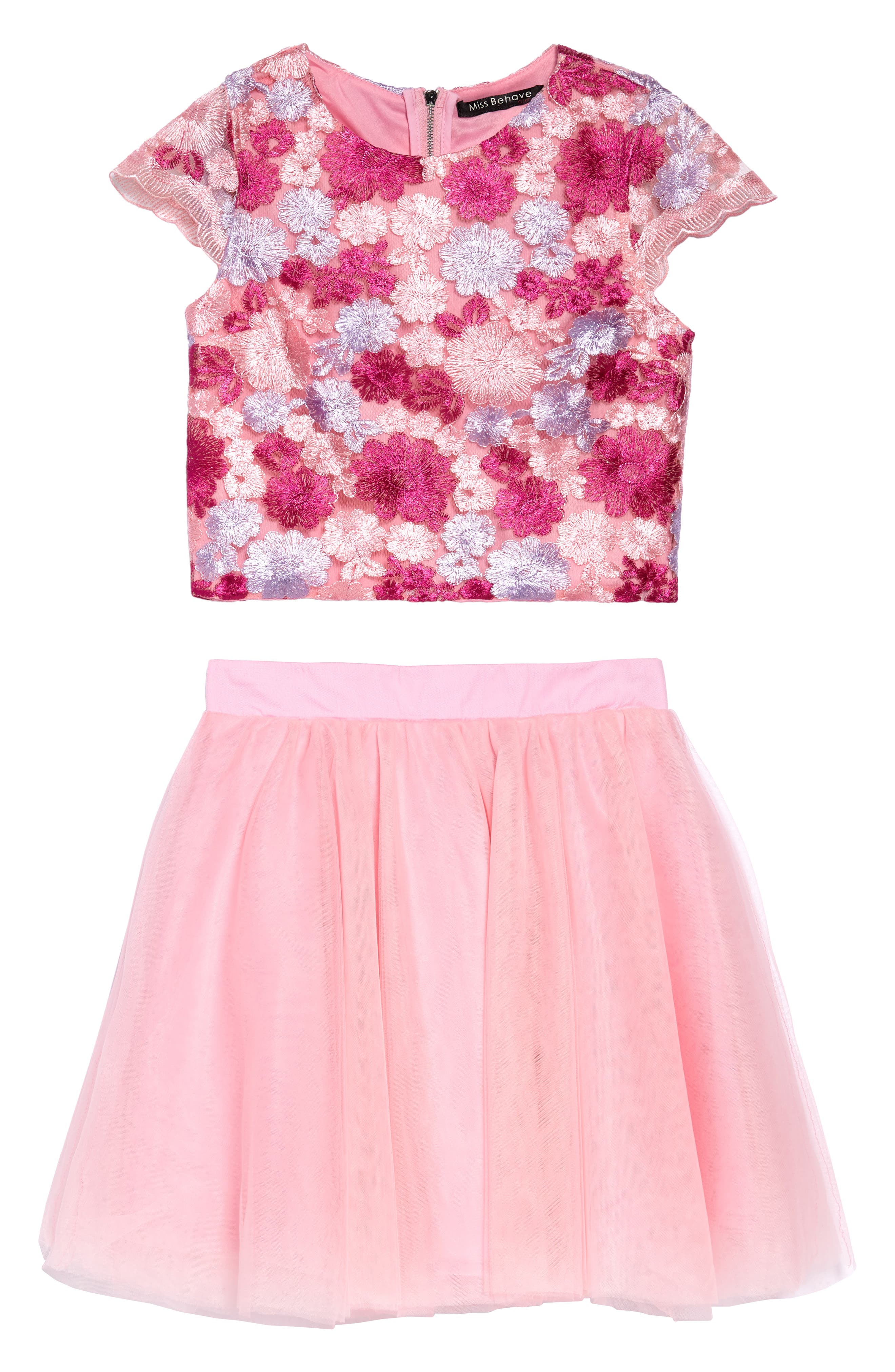 Brooke Embroidered Top & Tulle Skirt Set,                         Main,                         color, Pink