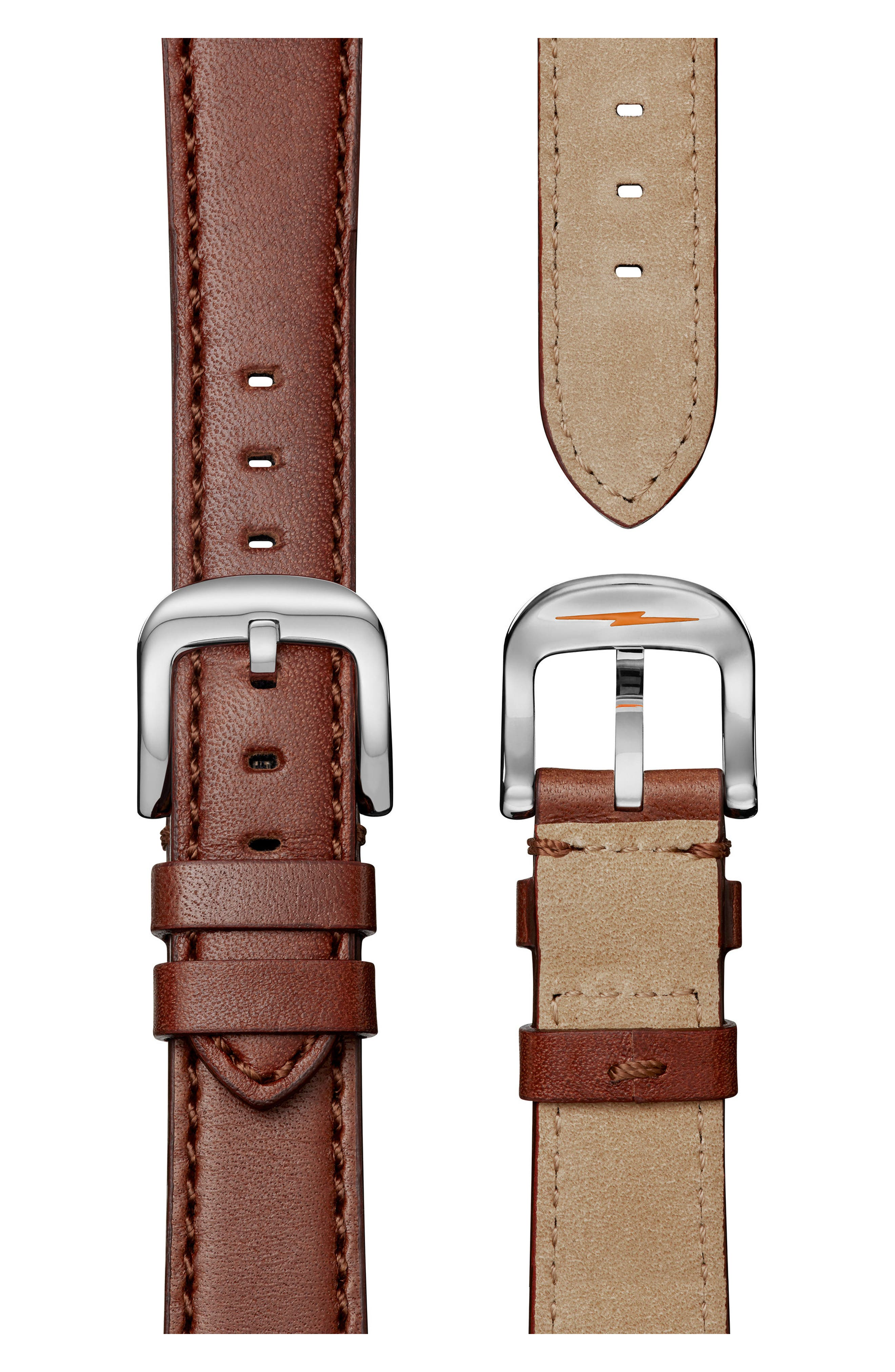 The Runwell Leather Strap Watch, 36mm,                             Alternate thumbnail 5, color,                             Dark Cognac/ Champagne/ Silver