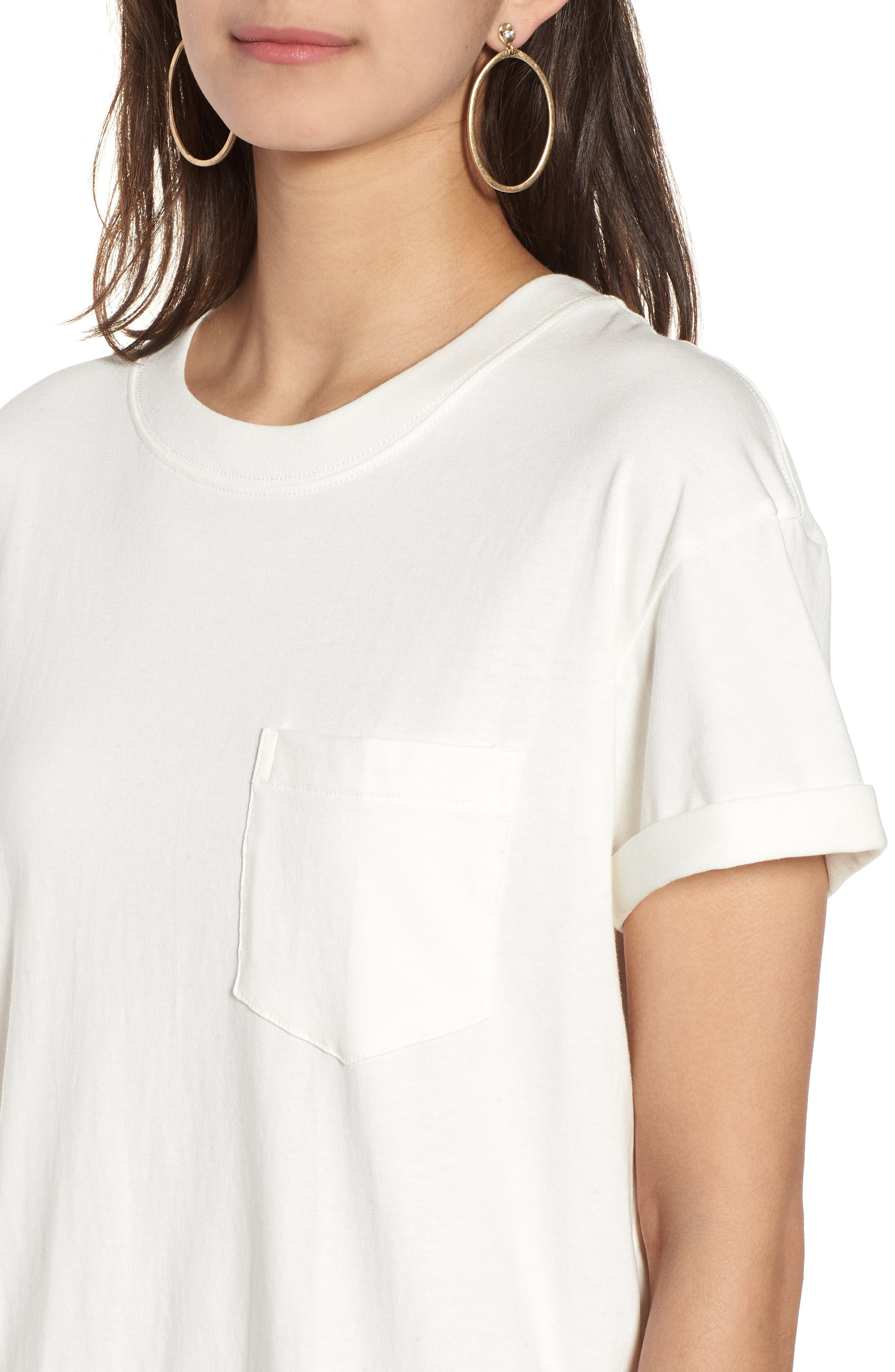 Pocket T-Shirt Dress,                             Alternate thumbnail 4, color,                             Bright Ivory