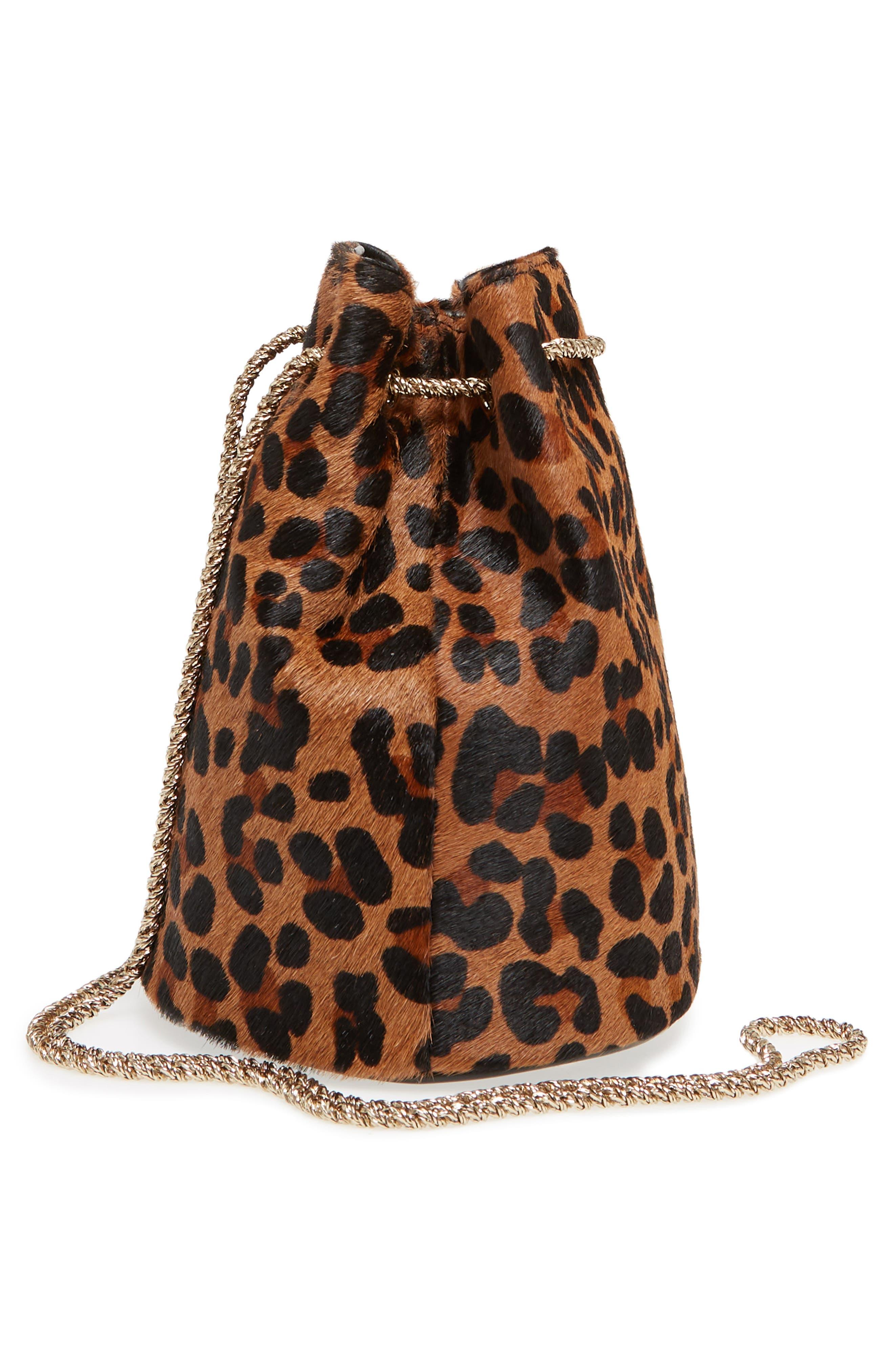 Hope Genuine Calf Hair Bucket Bag,                             Alternate thumbnail 5, color,                             Leaopard/ Maroquinerie