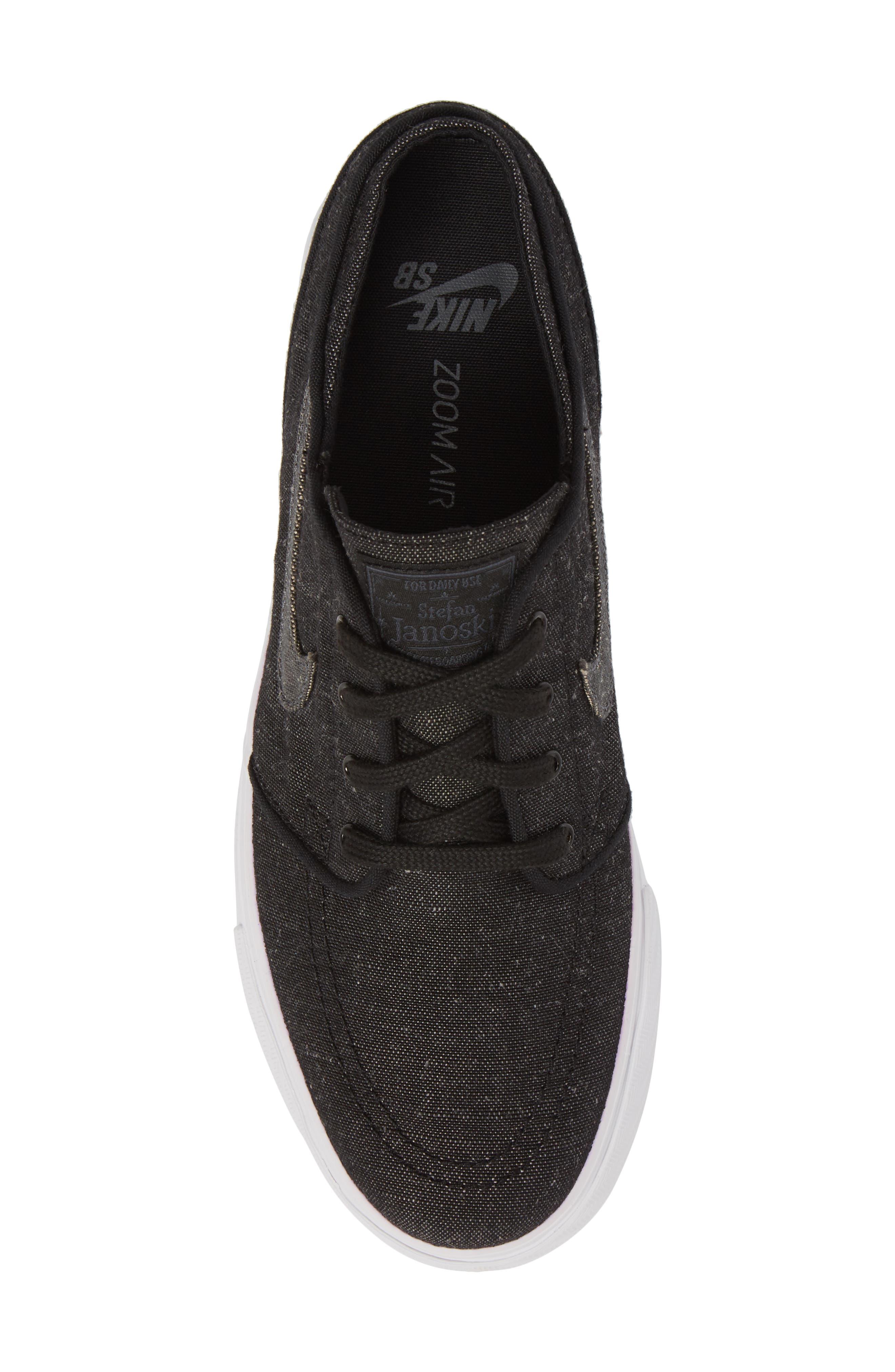 SB Zoom Stefan Janoski Canvas Deconstructed Skateboarding Sneaker,                             Alternate thumbnail 5, color,                             Black/ Anthracite/ Hyper Royal