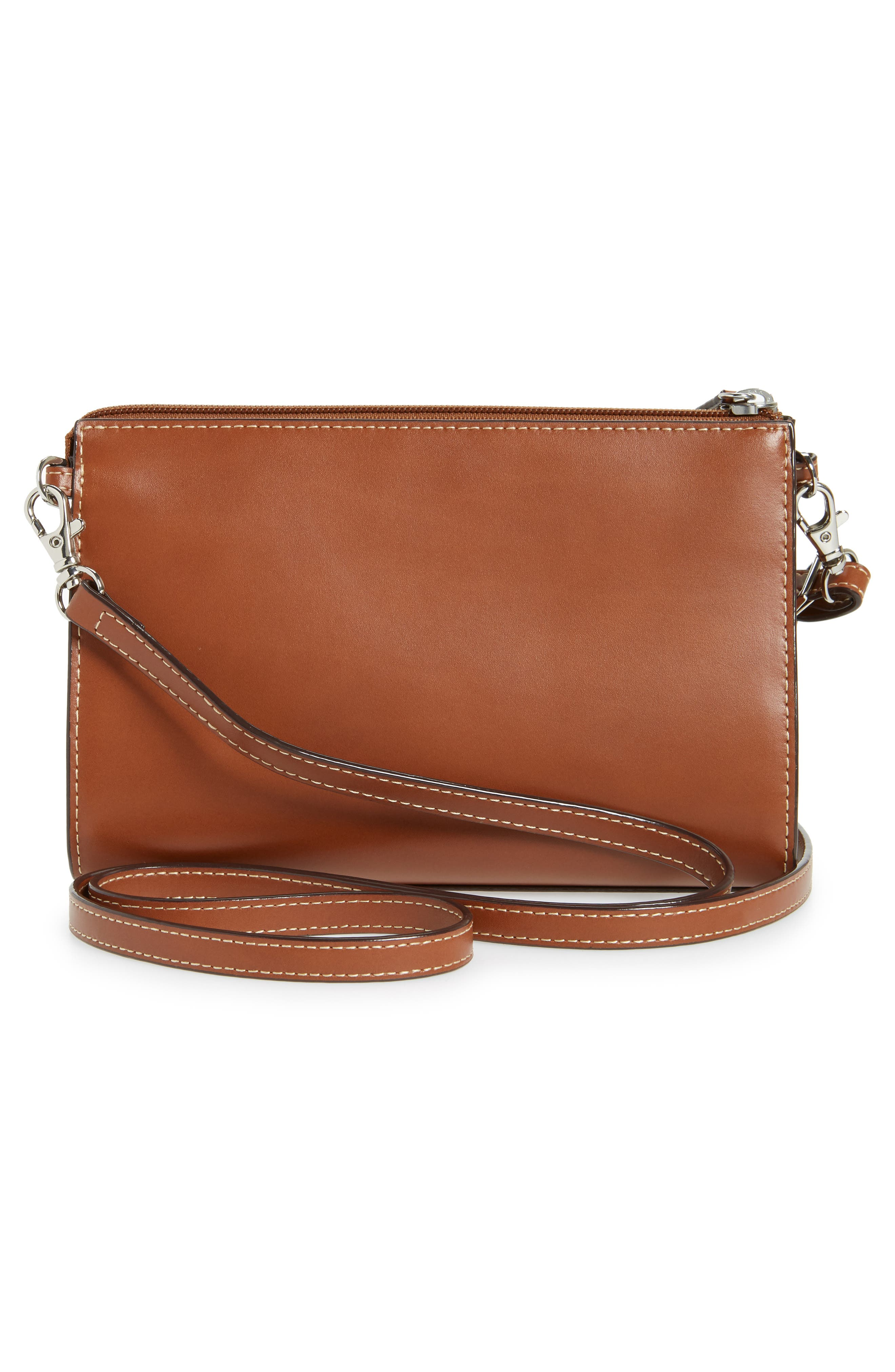 Audrey Under Lock & Key Vicky Convertible Leather Crossbody Bag,                             Alternate thumbnail 3, color,                             Sequoia/ Papaya
