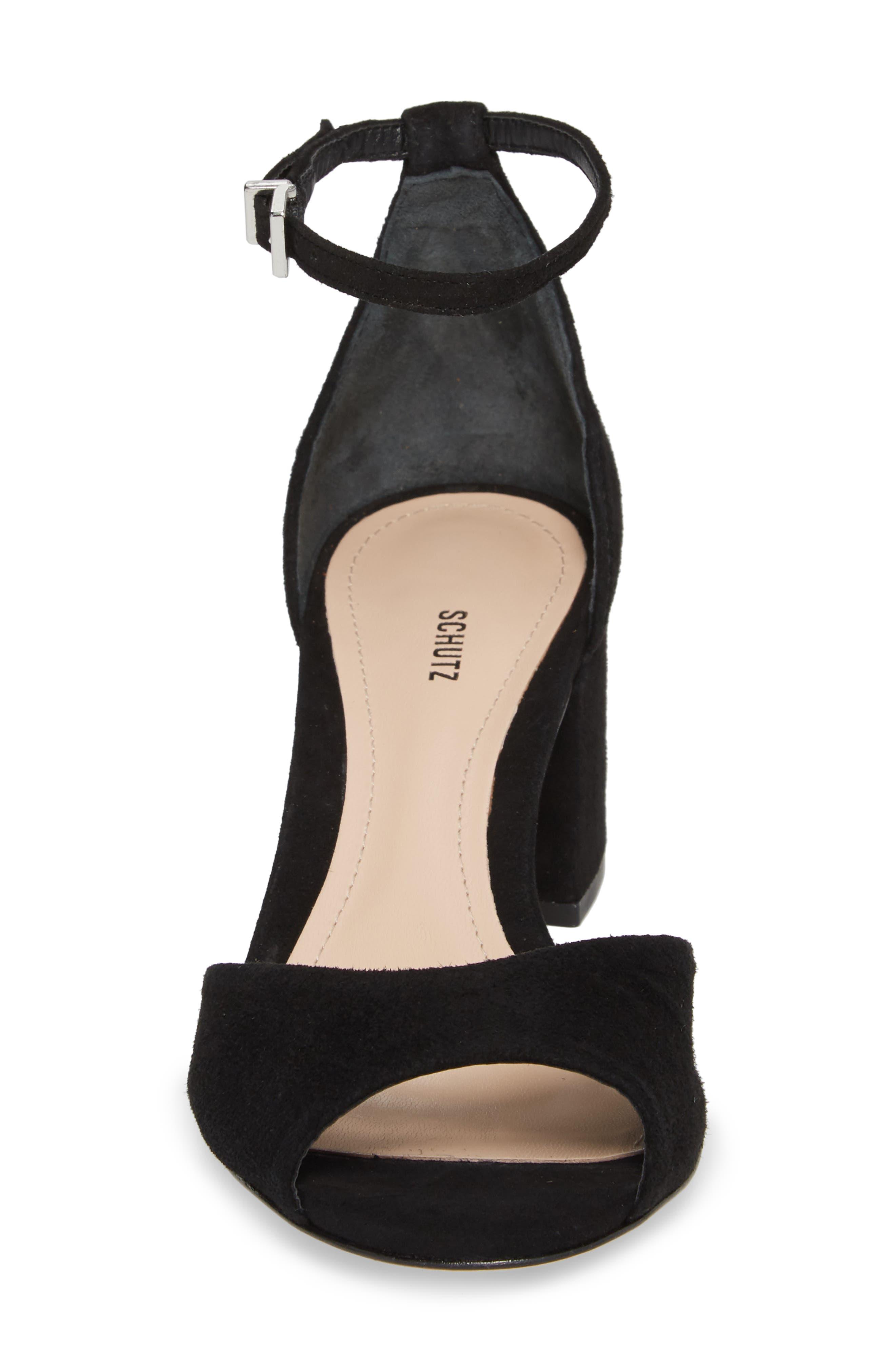 Roama Block Heel Sandal,                             Alternate thumbnail 4, color,                             Black Suede