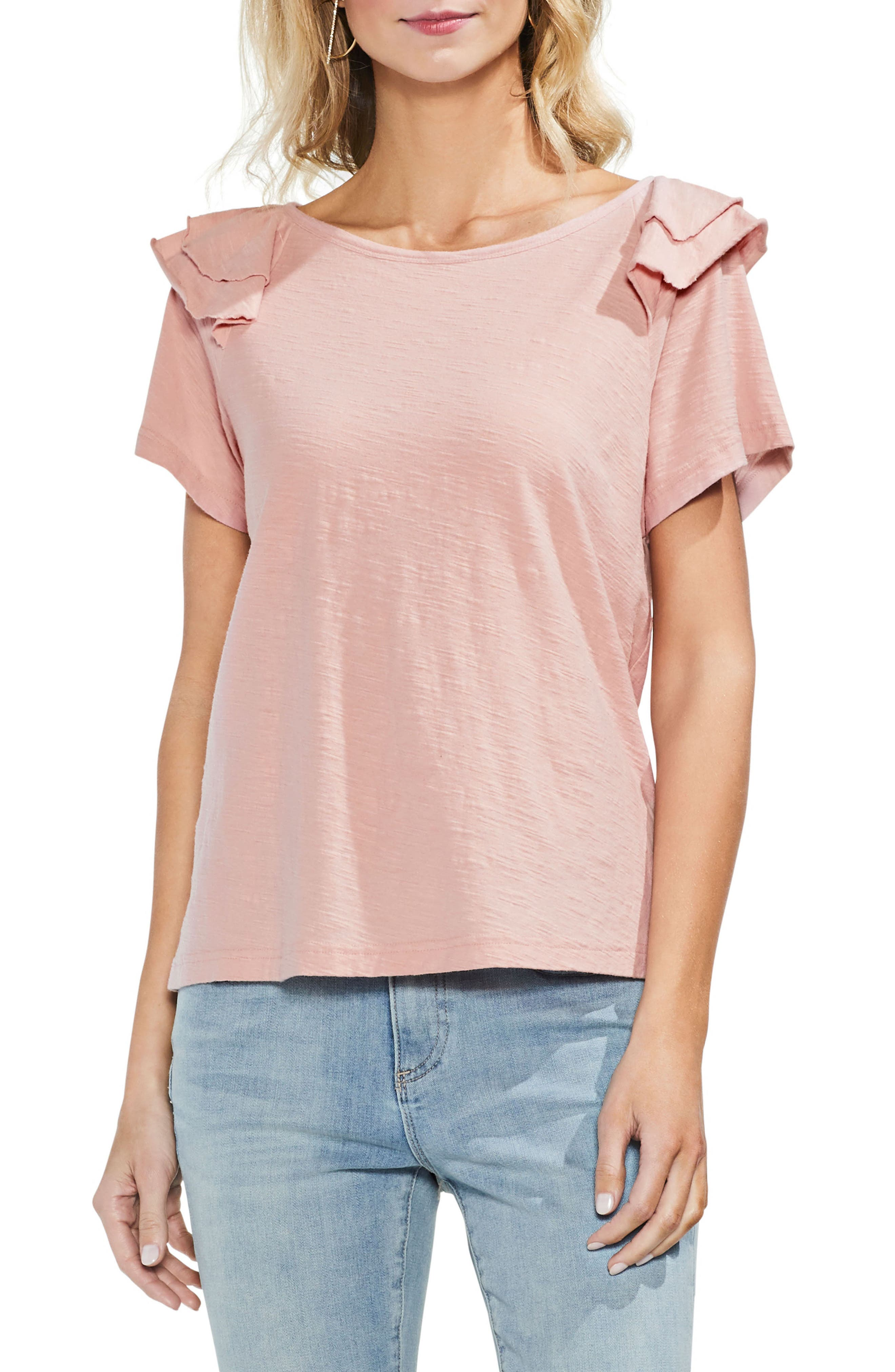 Shoulder Ruffle Tee,                         Main,                         color, Pink Fawn
