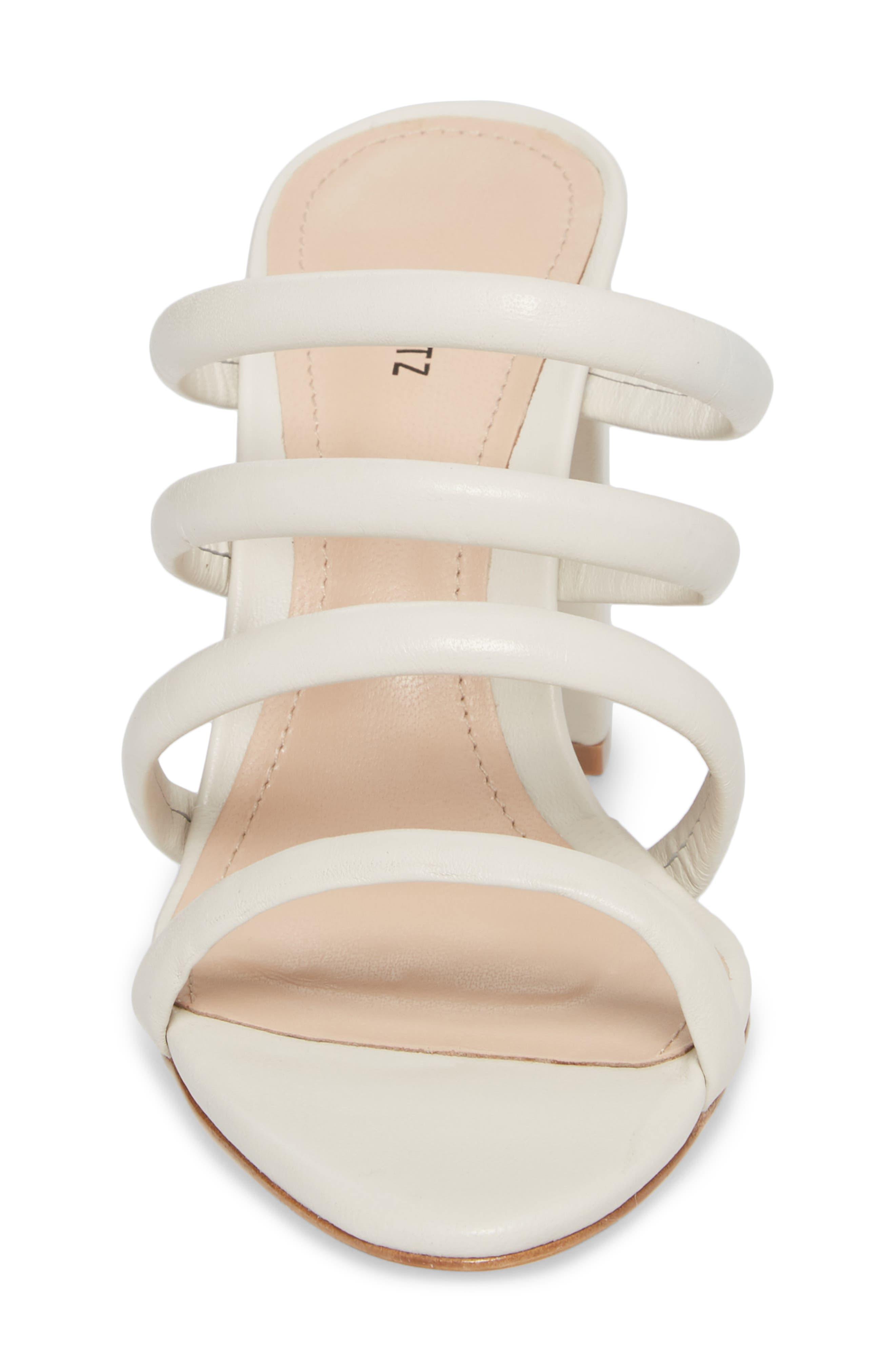 Felisa Block Heel Sandal,                             Alternate thumbnail 4, color,                             Pearl Leather
