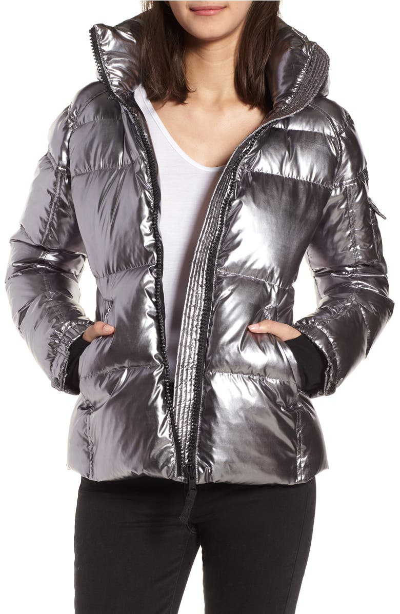 Kylie Metallic Quilted Jacket with Removable Hood,                         Main,                         color, Mica