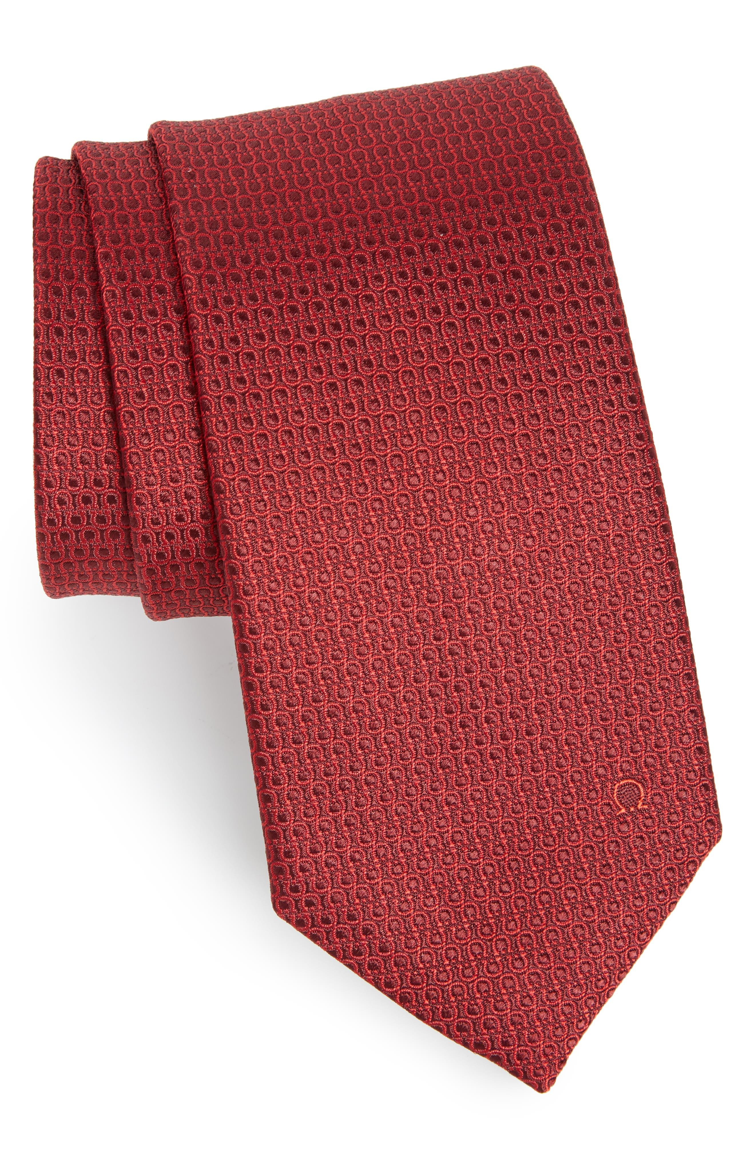 Esper Gancini Print Silk Tie,                         Main,                         color, Bordeaux