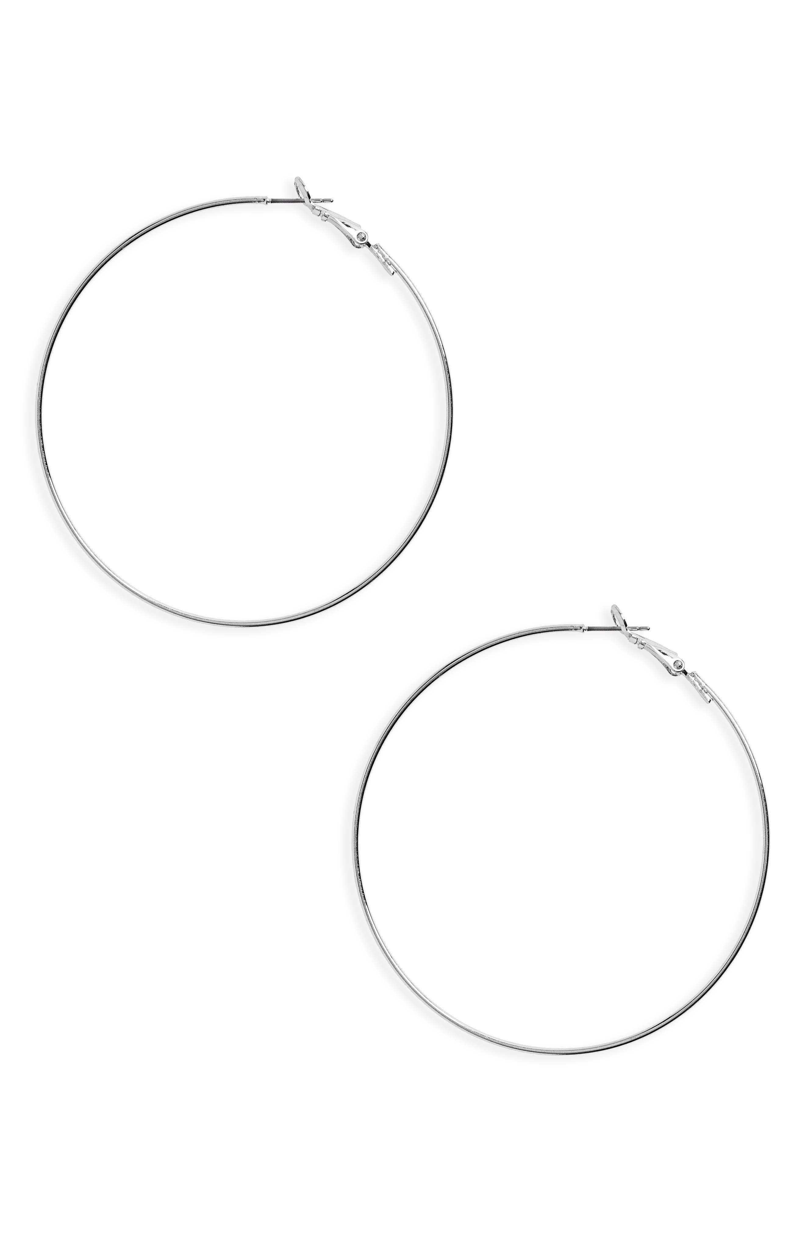 Hoop Earrings,                             Main thumbnail 1, color,                             Silver