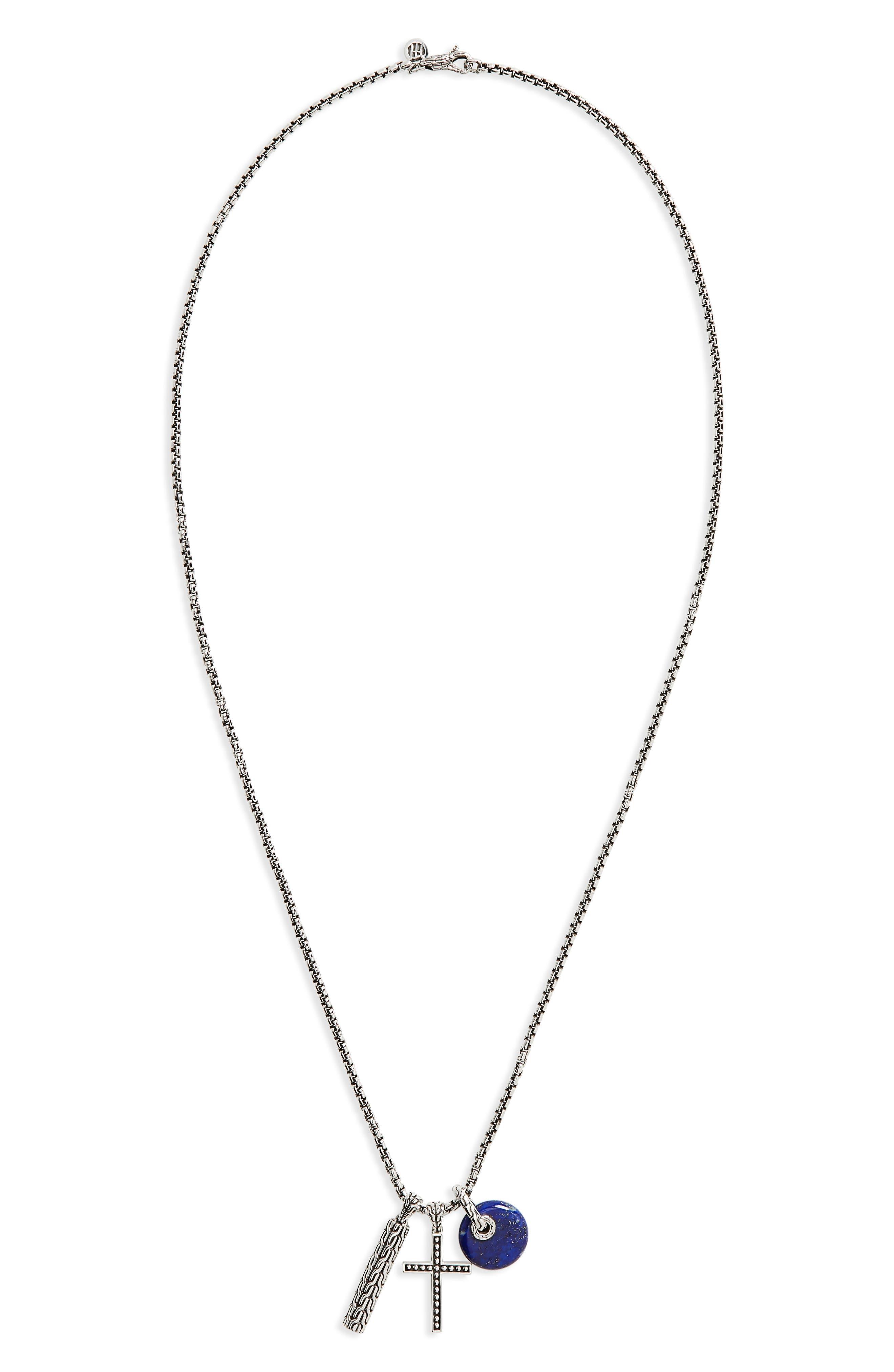 Jawan Charm Pendant Necklace,                         Main,                         color, Silver/ Lapis Lazuli