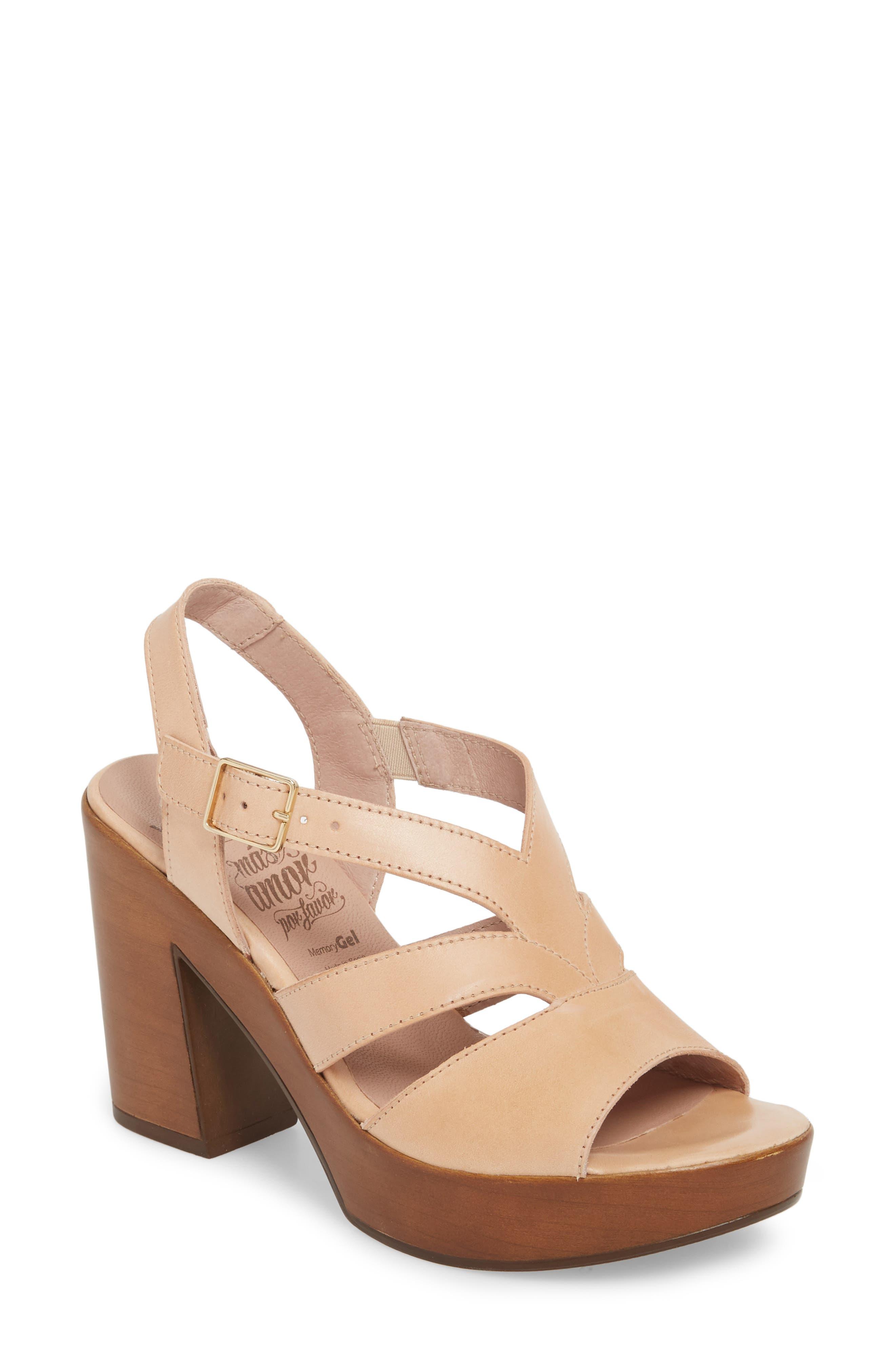 V-Strap Platform Sandal,                         Main,                         color, Palo Leather