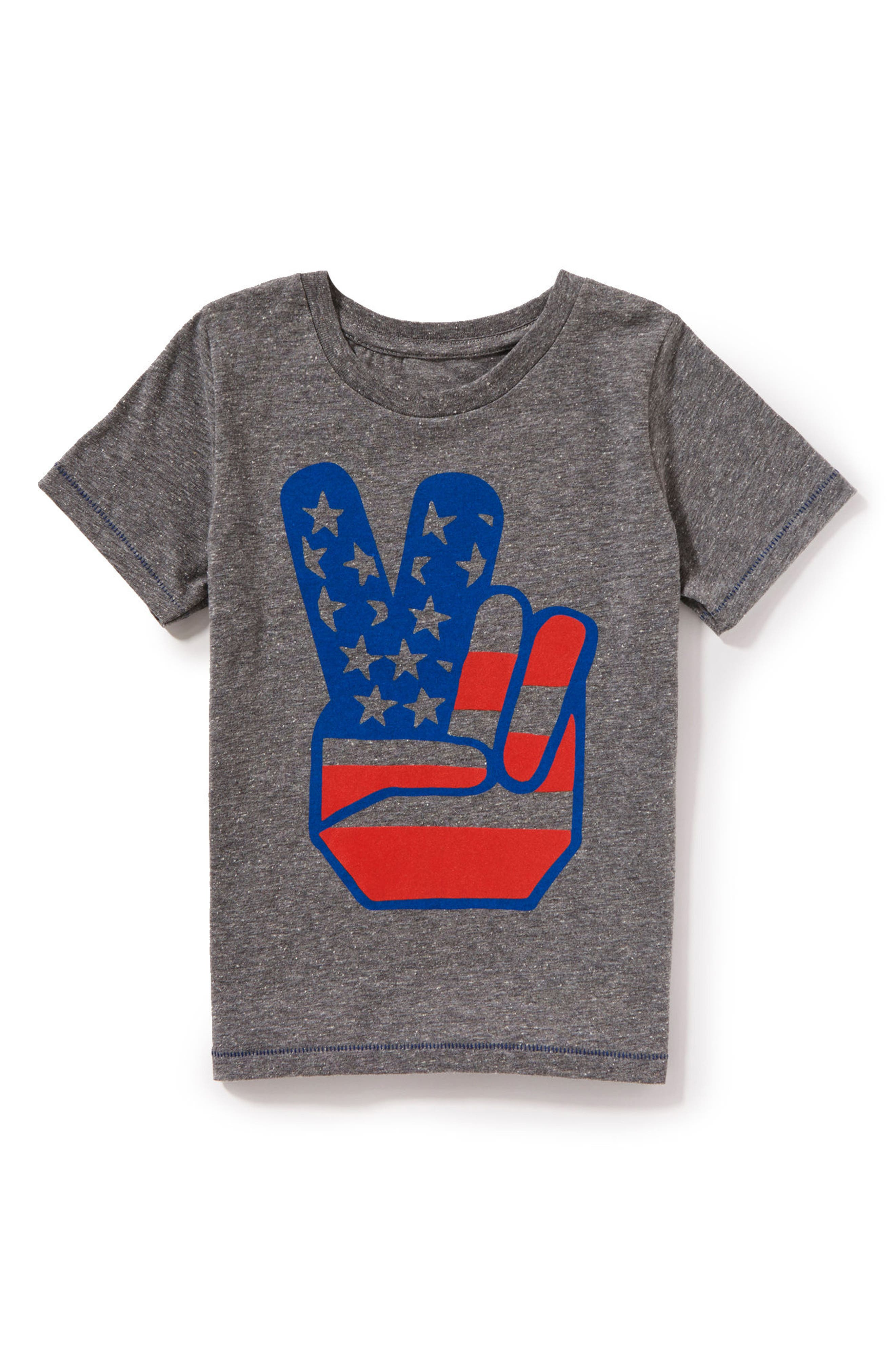 Flag Peace Graphic T-Shirt,                             Main thumbnail 1, color,                             Medium Grey