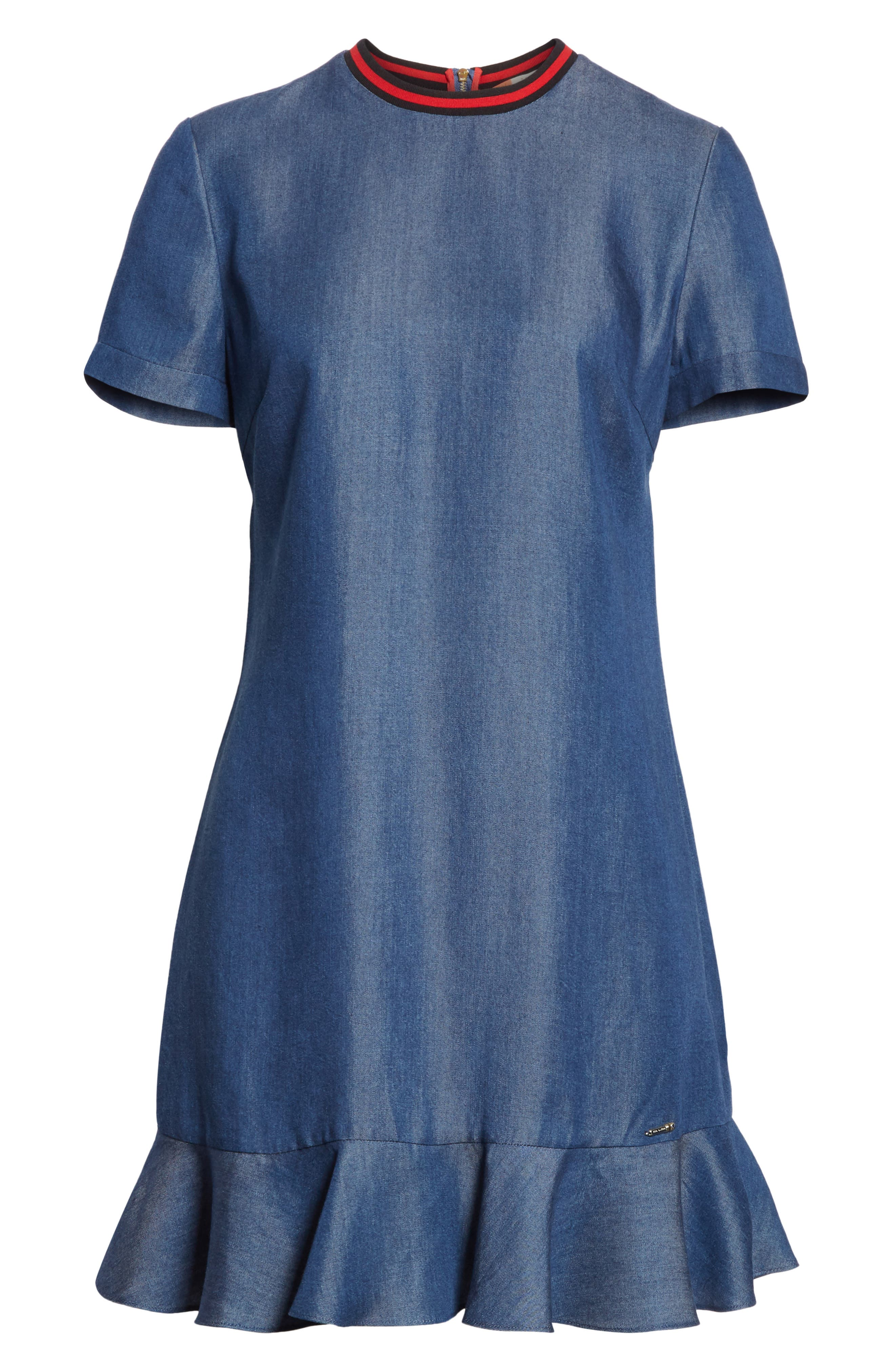 Colour by Numbers Denim Dress,                             Alternate thumbnail 6, color,                             Mid-Wash