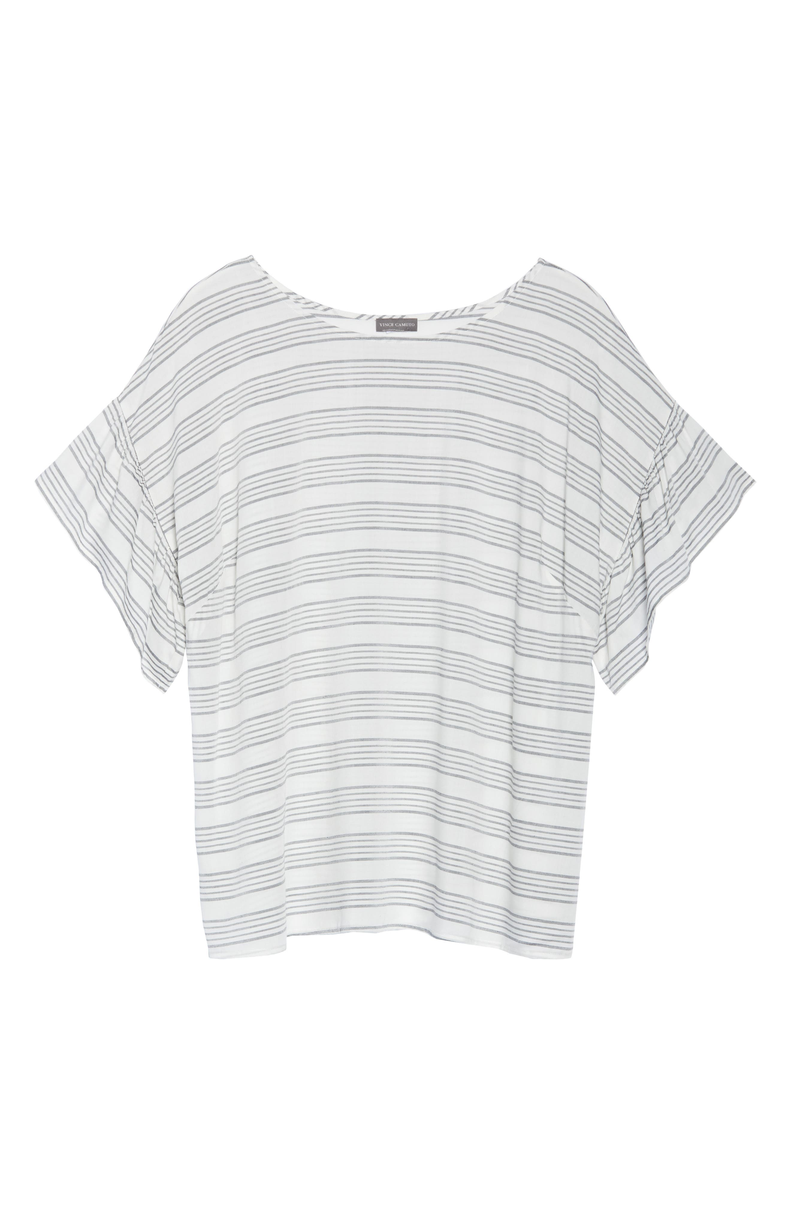 Ruffle Sleeve Bar Stripe Top,                             Alternate thumbnail 7, color,                             New Ivory