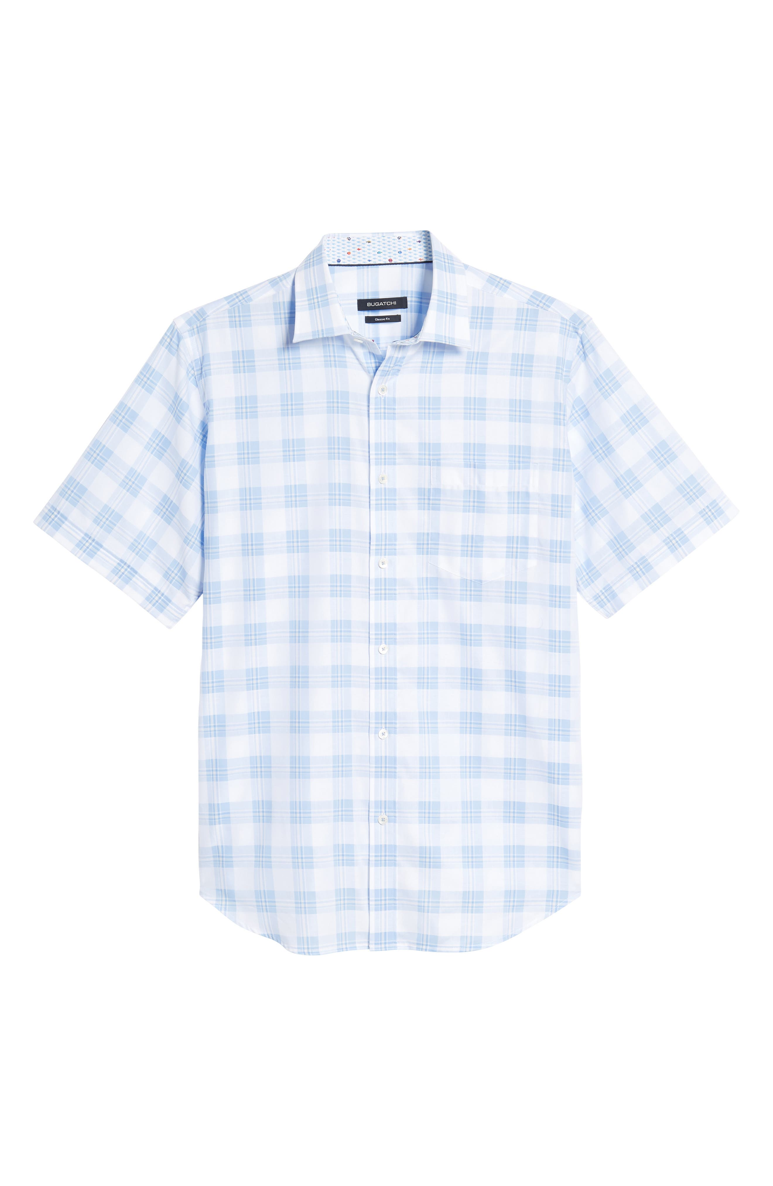 Classic Fit Tartan Check Sport Shirt,                             Alternate thumbnail 6, color,                             Sky