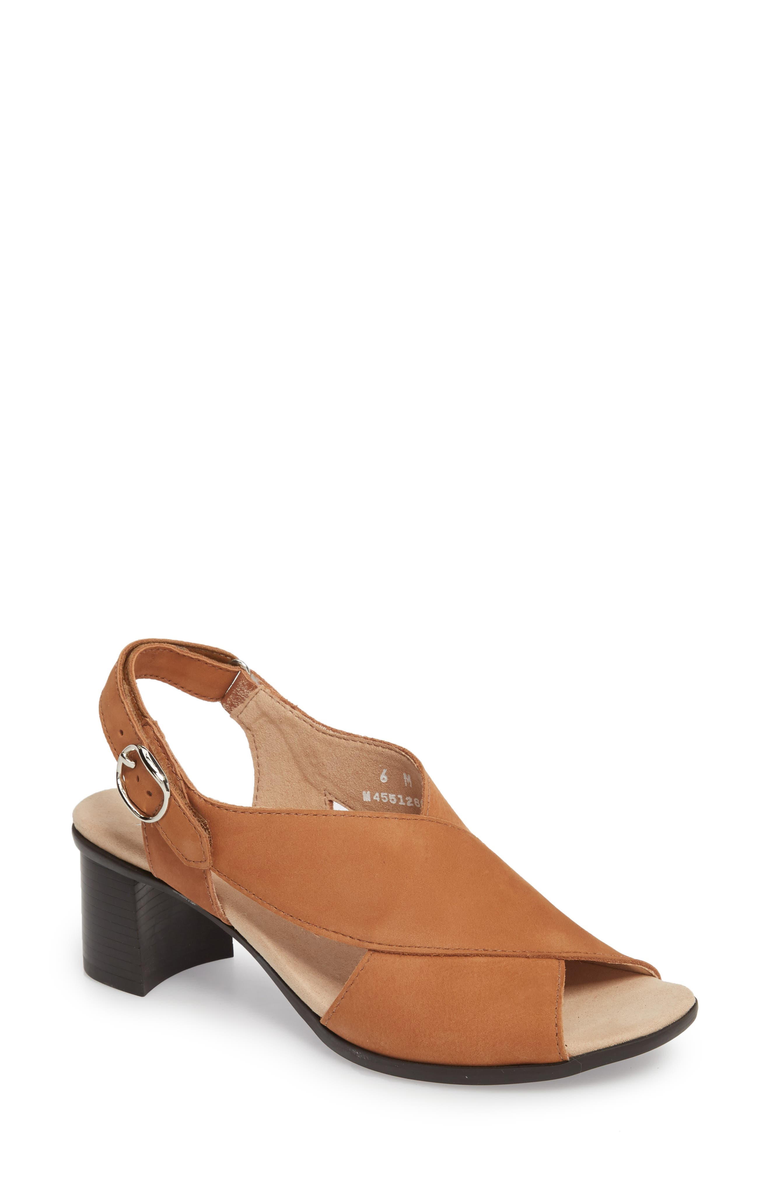 Laine Block Heel Sandal,                             Main thumbnail 1, color,                             Brown Nubuck Leather