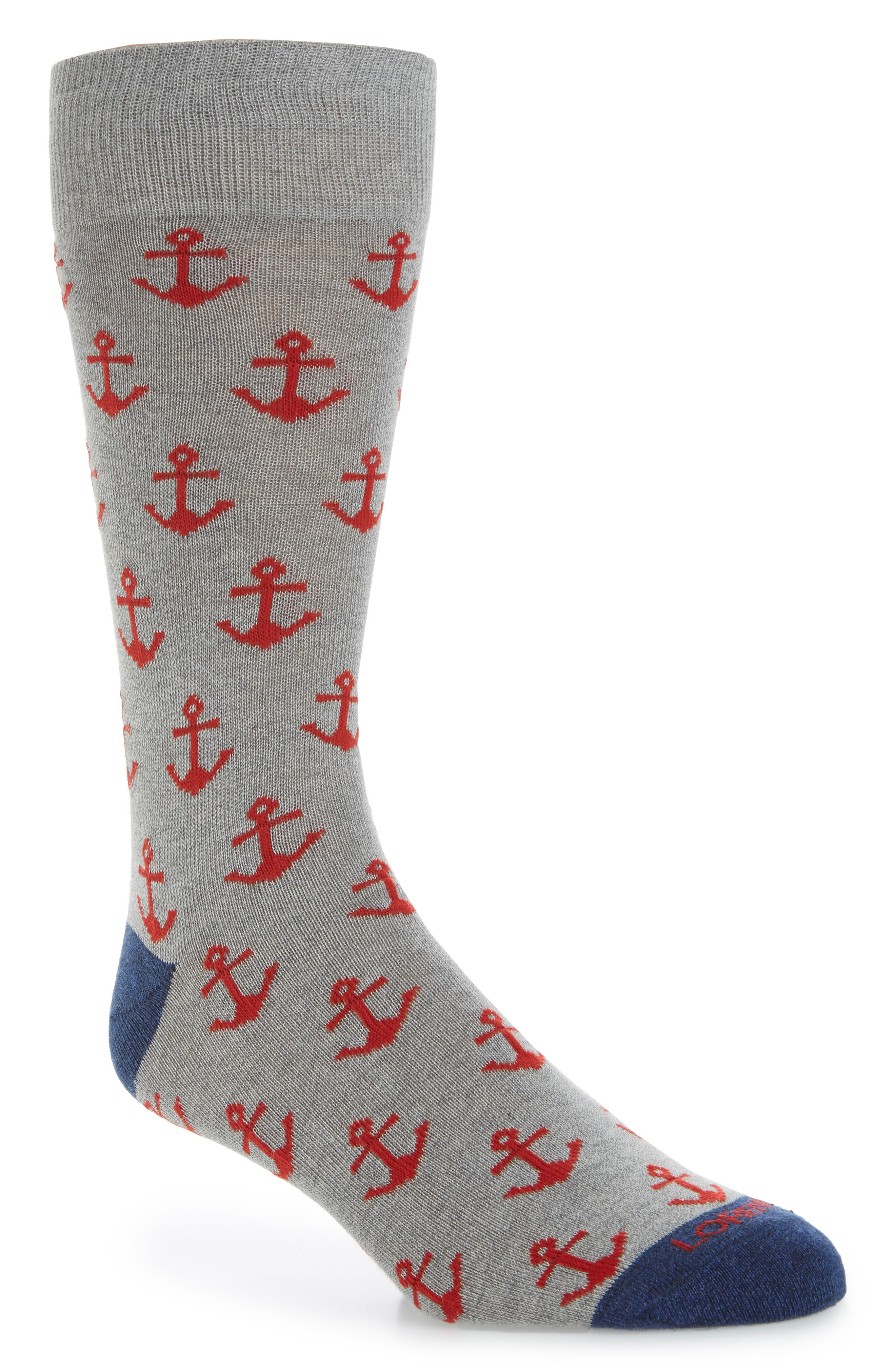 Lorenzo Uomo Anchors Crew Socks (3 for $30)