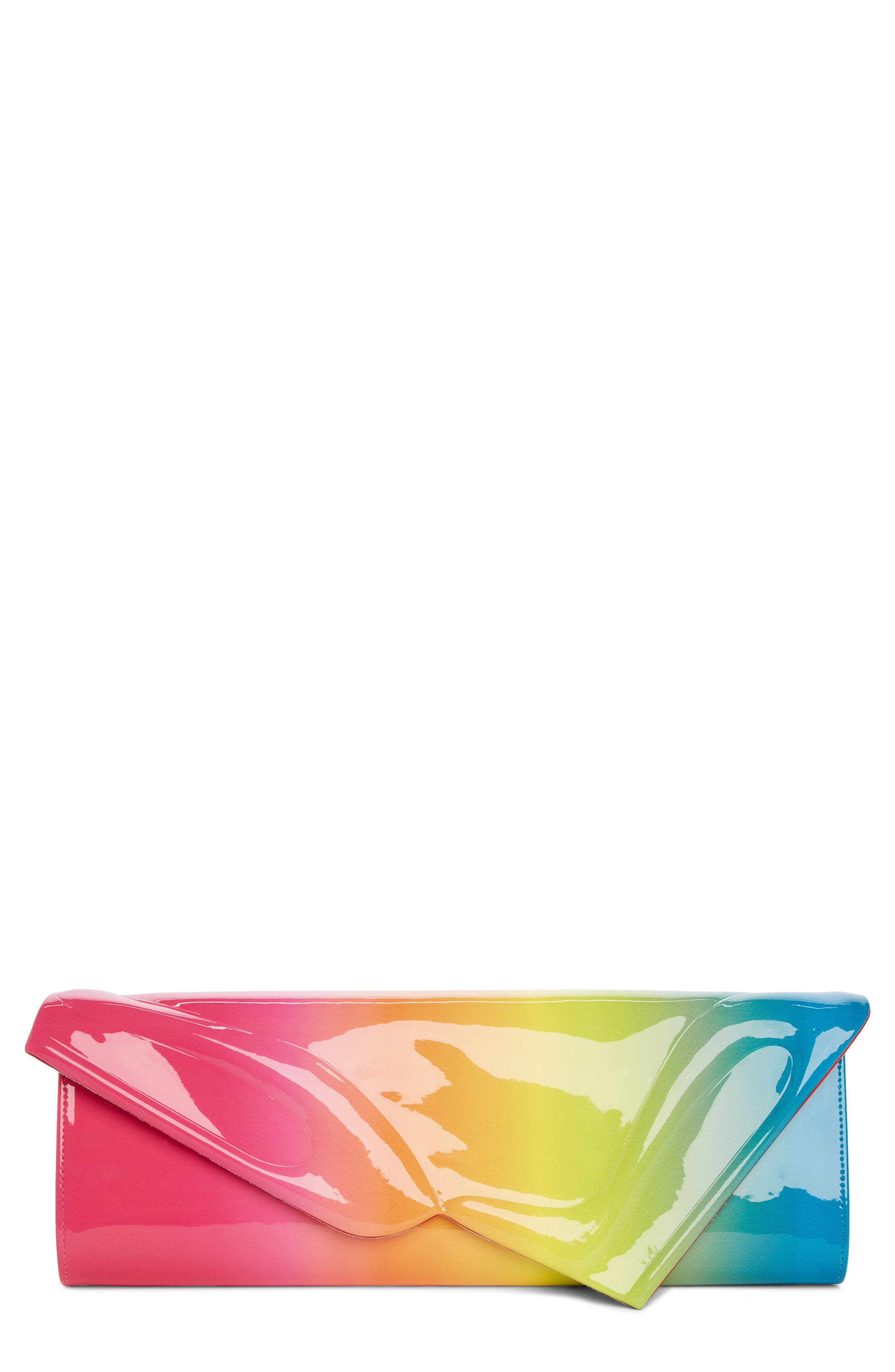 So Kate Rainbow Ombré Patent Leather Clutch,                             Main thumbnail 1, color,                             Pink Multi