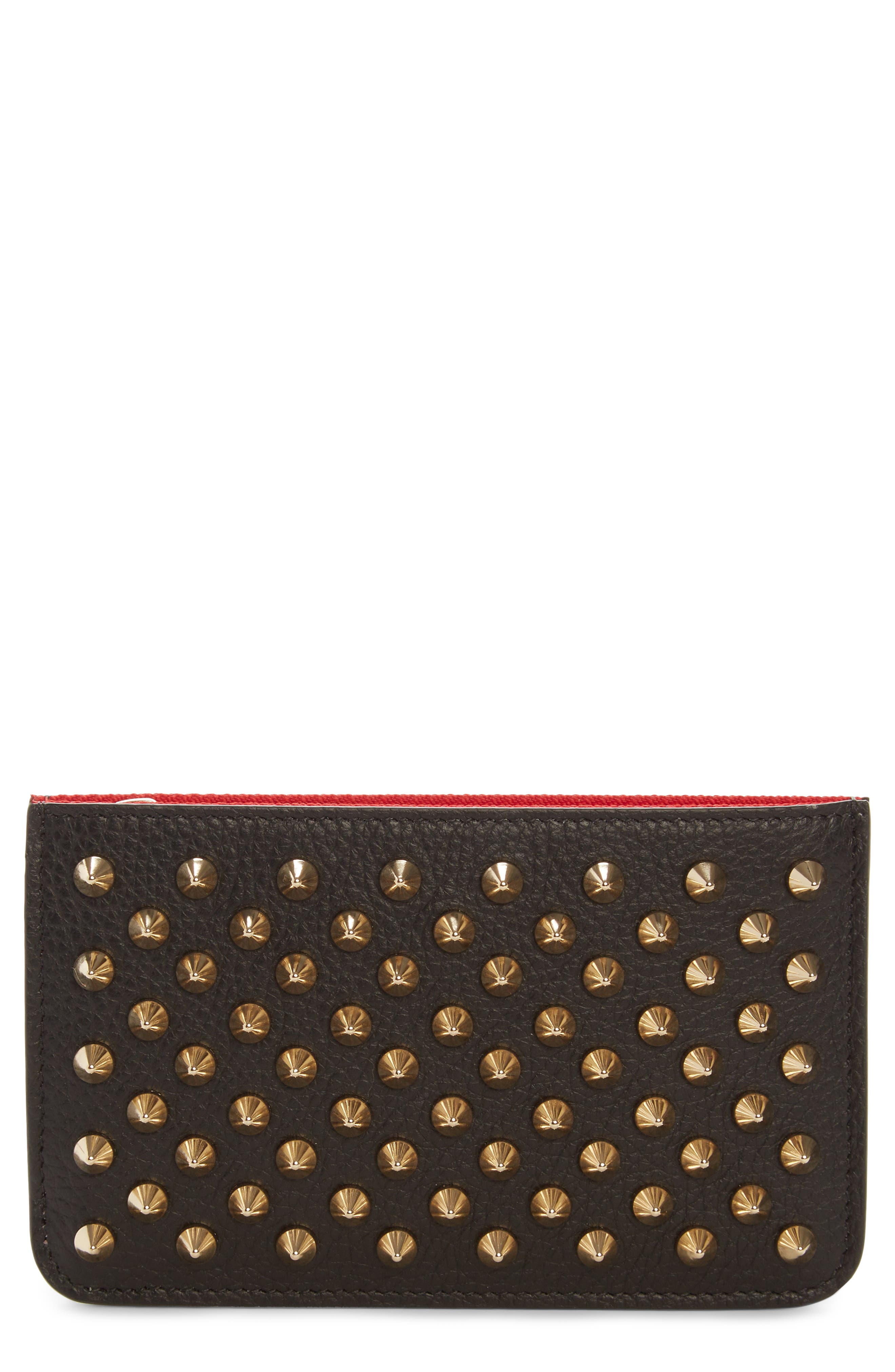 Panettone Studded Leather Key Case,                         Main,                         color, Black/ Gold