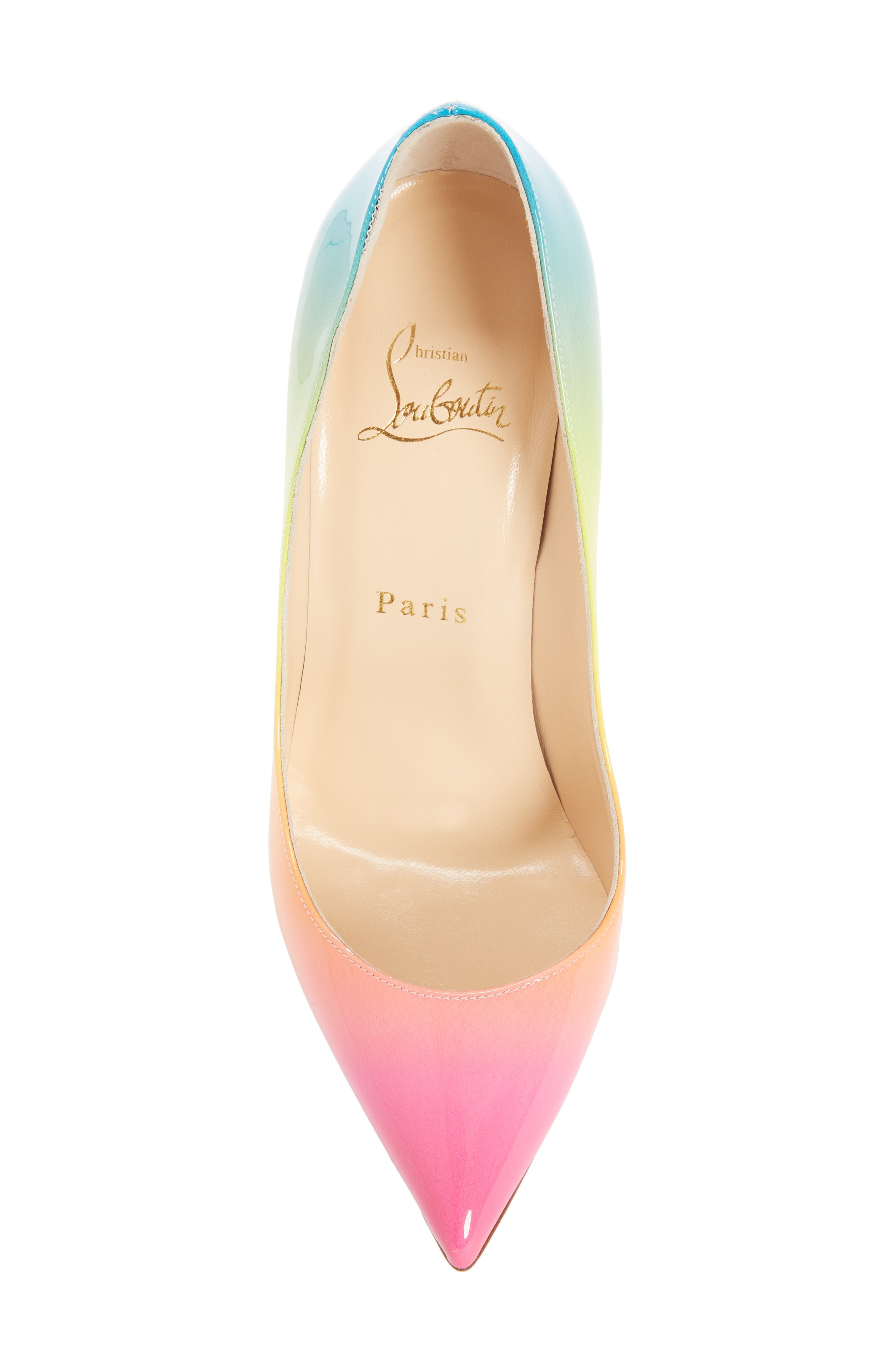 CHRISTIAN LOUBOUTIN PIGALLE FOLLIES 100MM OMBRE PATENT RED SOLE PUMPS, GOLD