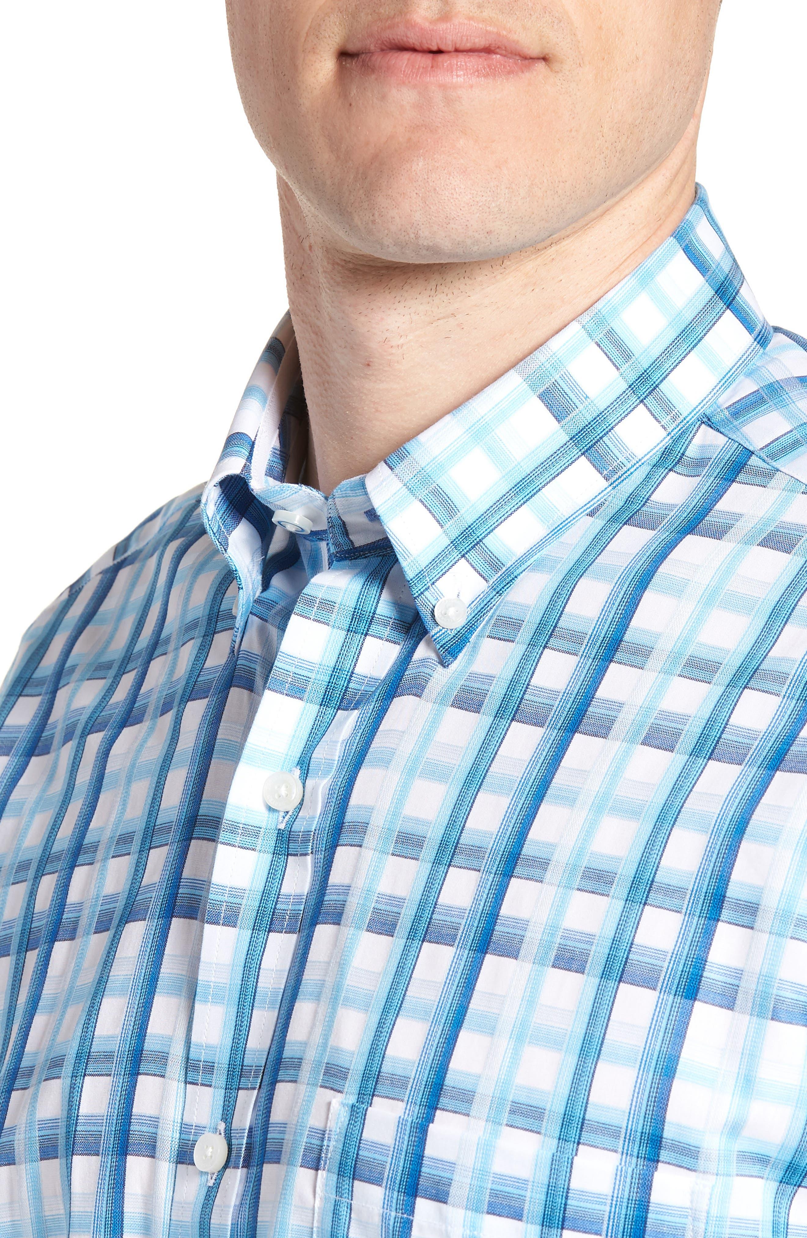 Larkin Regular Fit Plaid Sport Shirt,                             Alternate thumbnail 2, color,                             Aqua