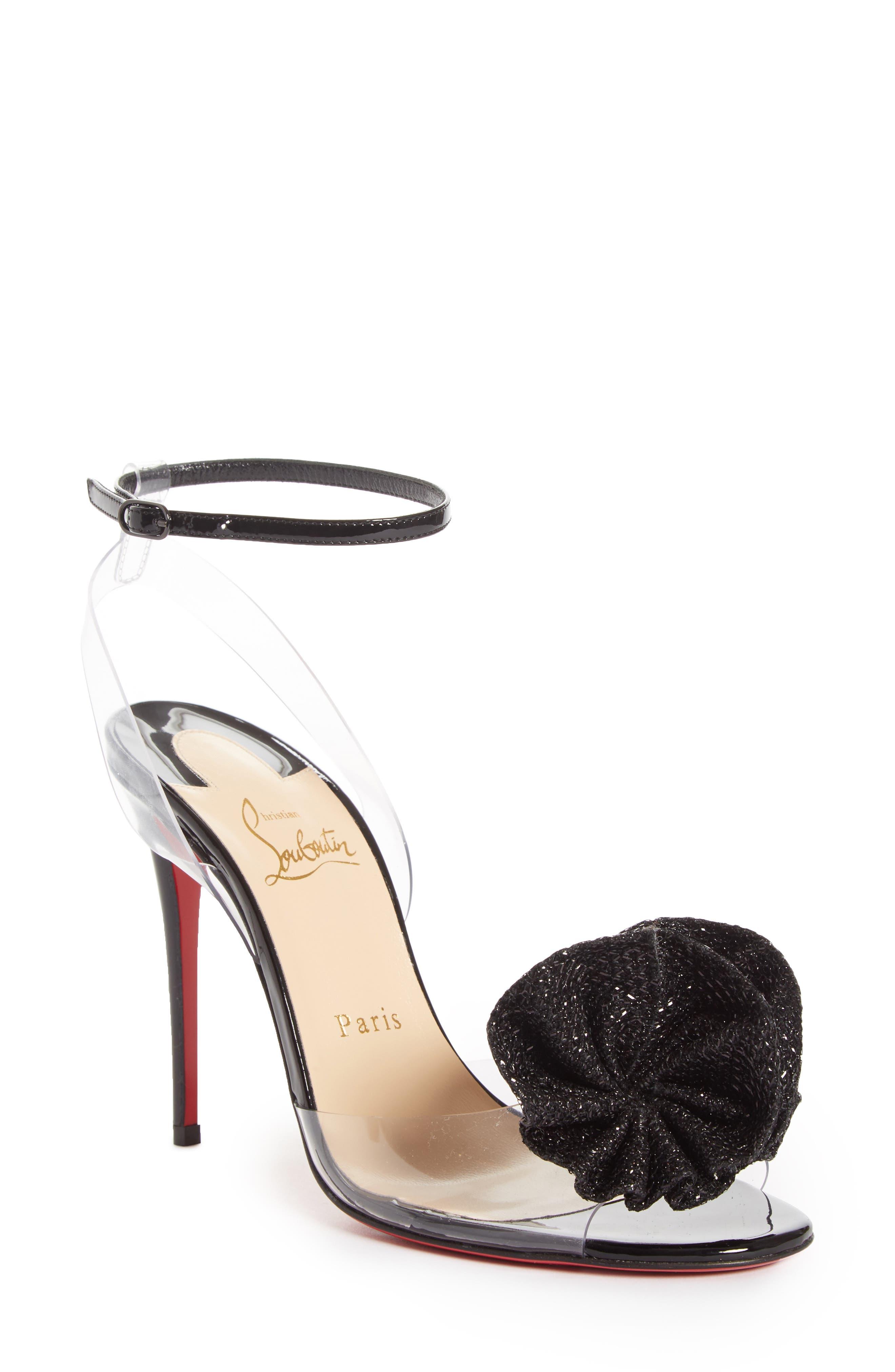 Fossiliza Clear Ankle Strap Sandal,                         Main,                         color, Black/ Transparent