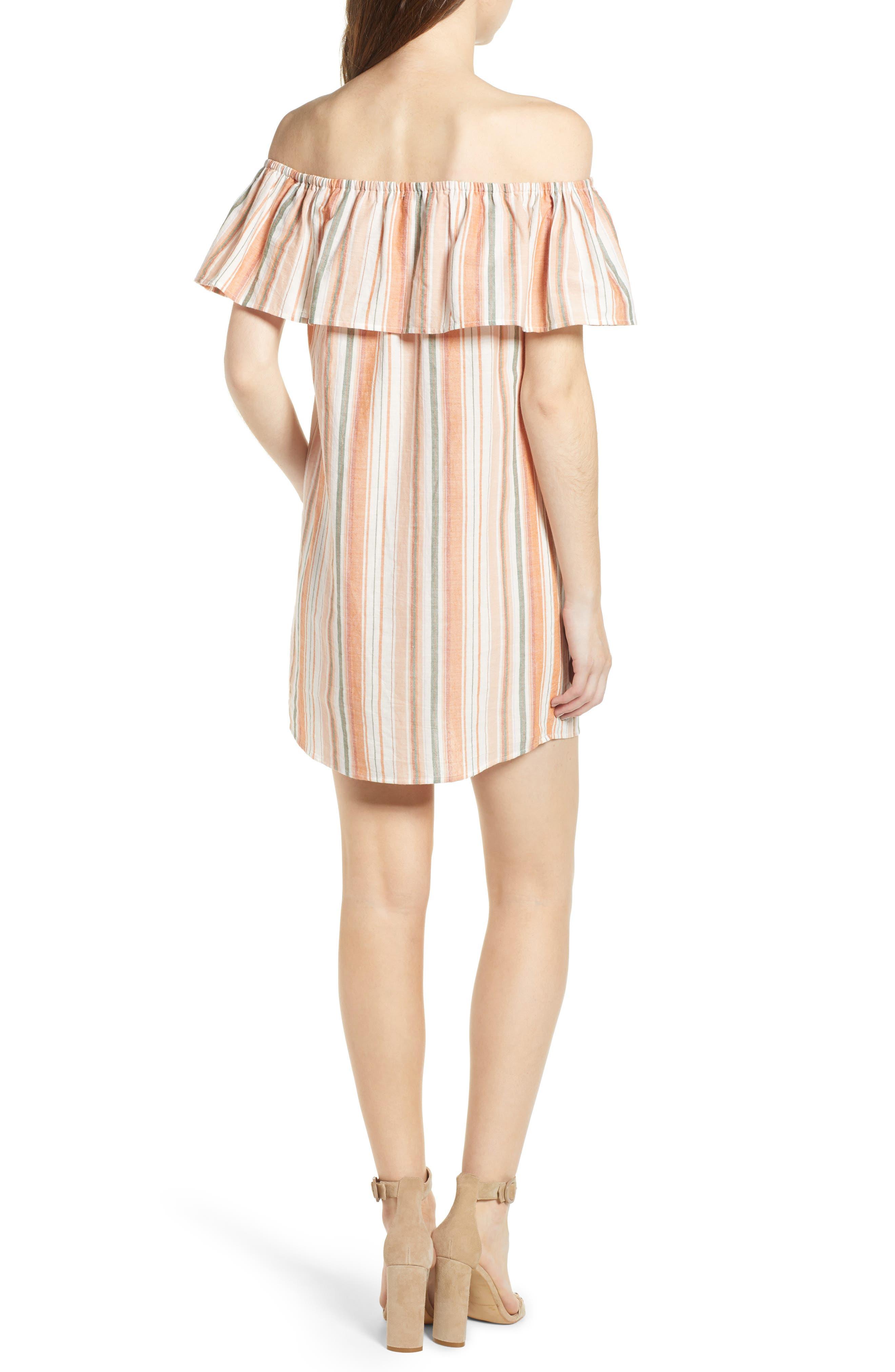 Bishop + Young Sunset Stripe Off the Shoulder Dress,                             Alternate thumbnail 2, color,                             Orange White Stripe