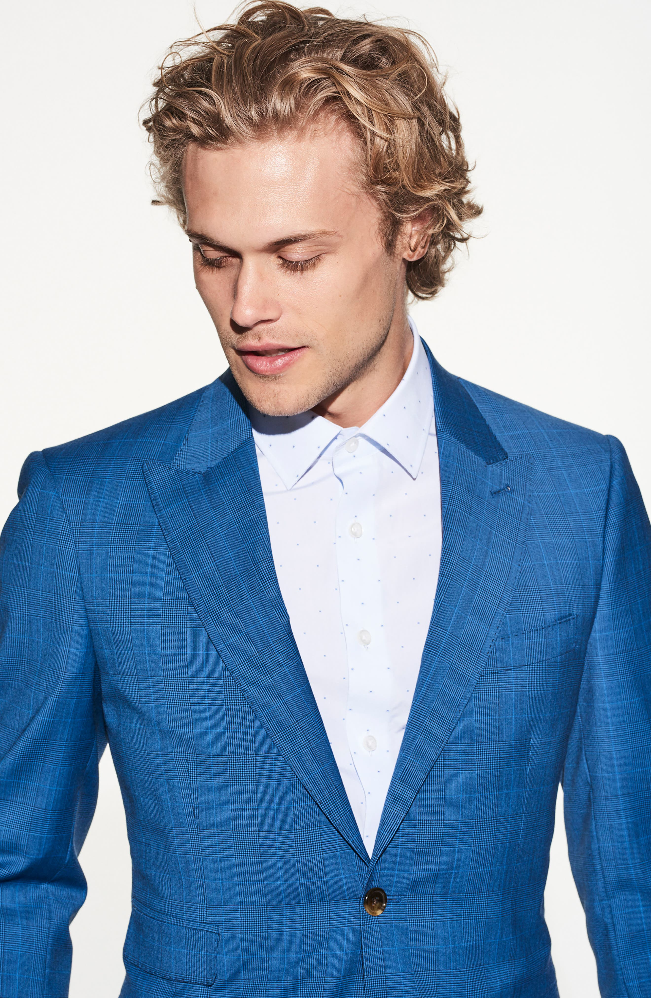 by Ilaria Urbinati Zooey Slim Fit Plaid Wool Suit,                             Alternate thumbnail 6, color,                             French Blue Glen Plaid