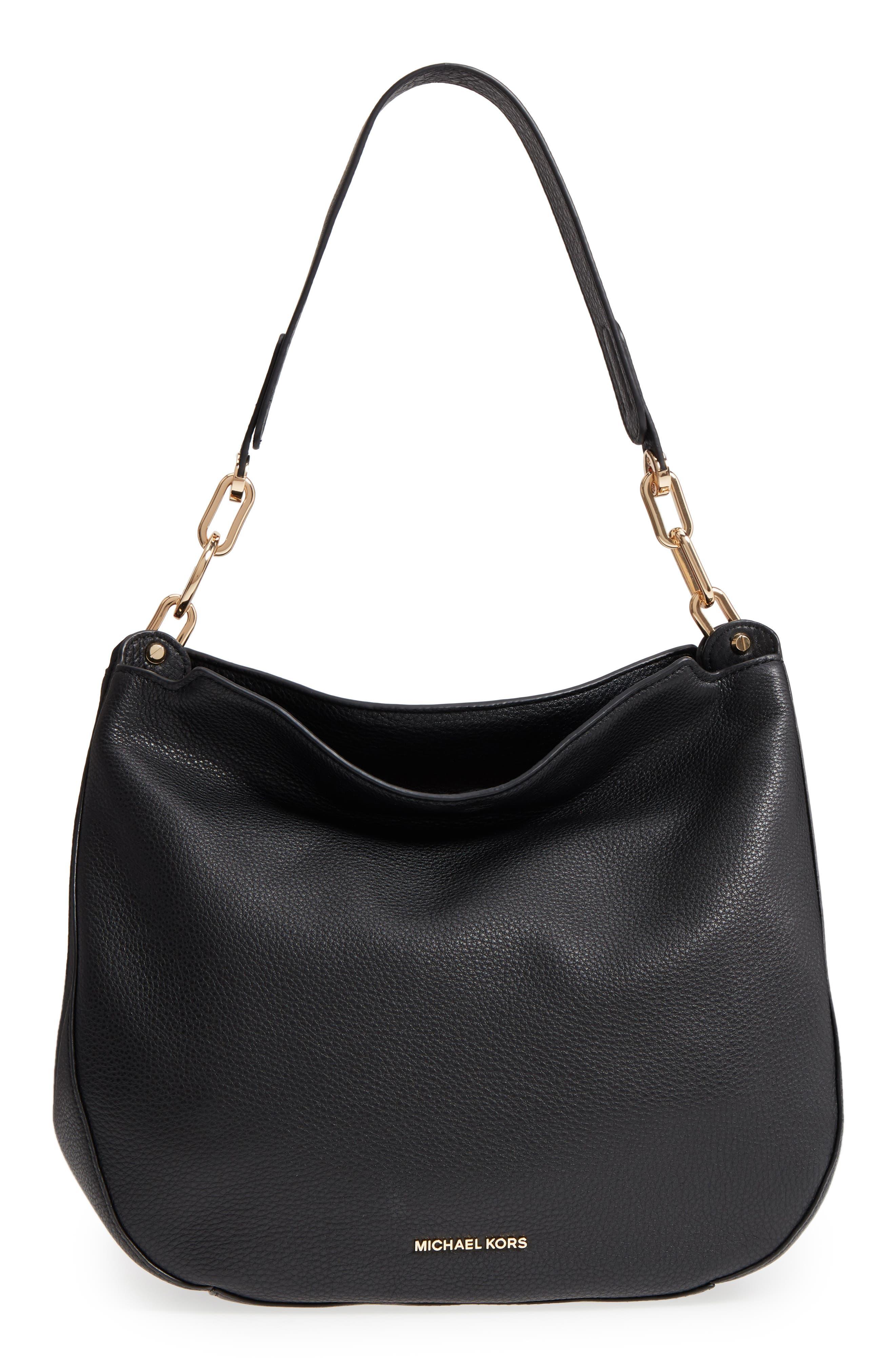 Fulton Leather Hobo,                         Main,                         color, Black