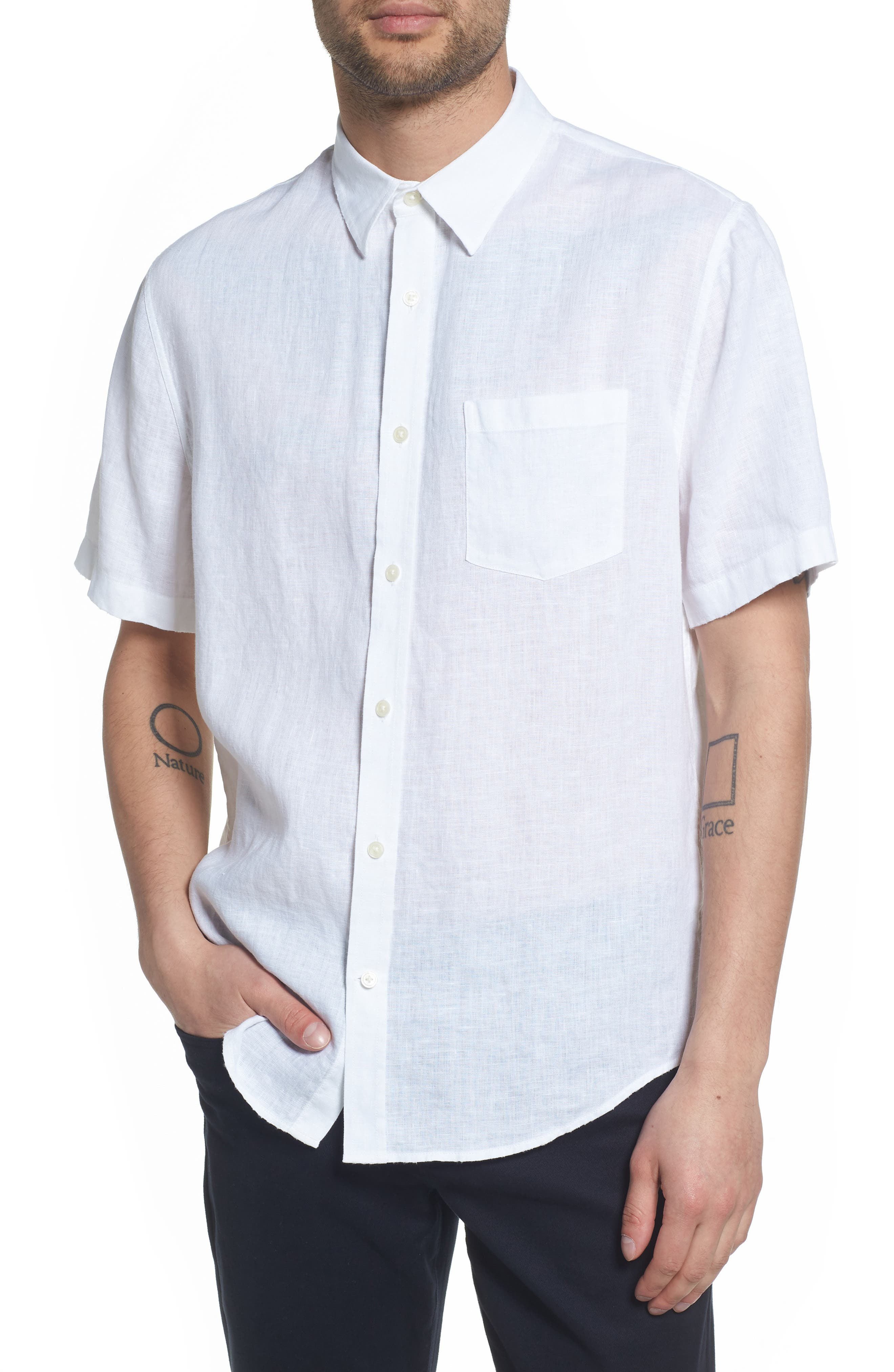 Classic Fit Washed Short Sleeve Sport Shirt,                         Main,                         color, Optic White