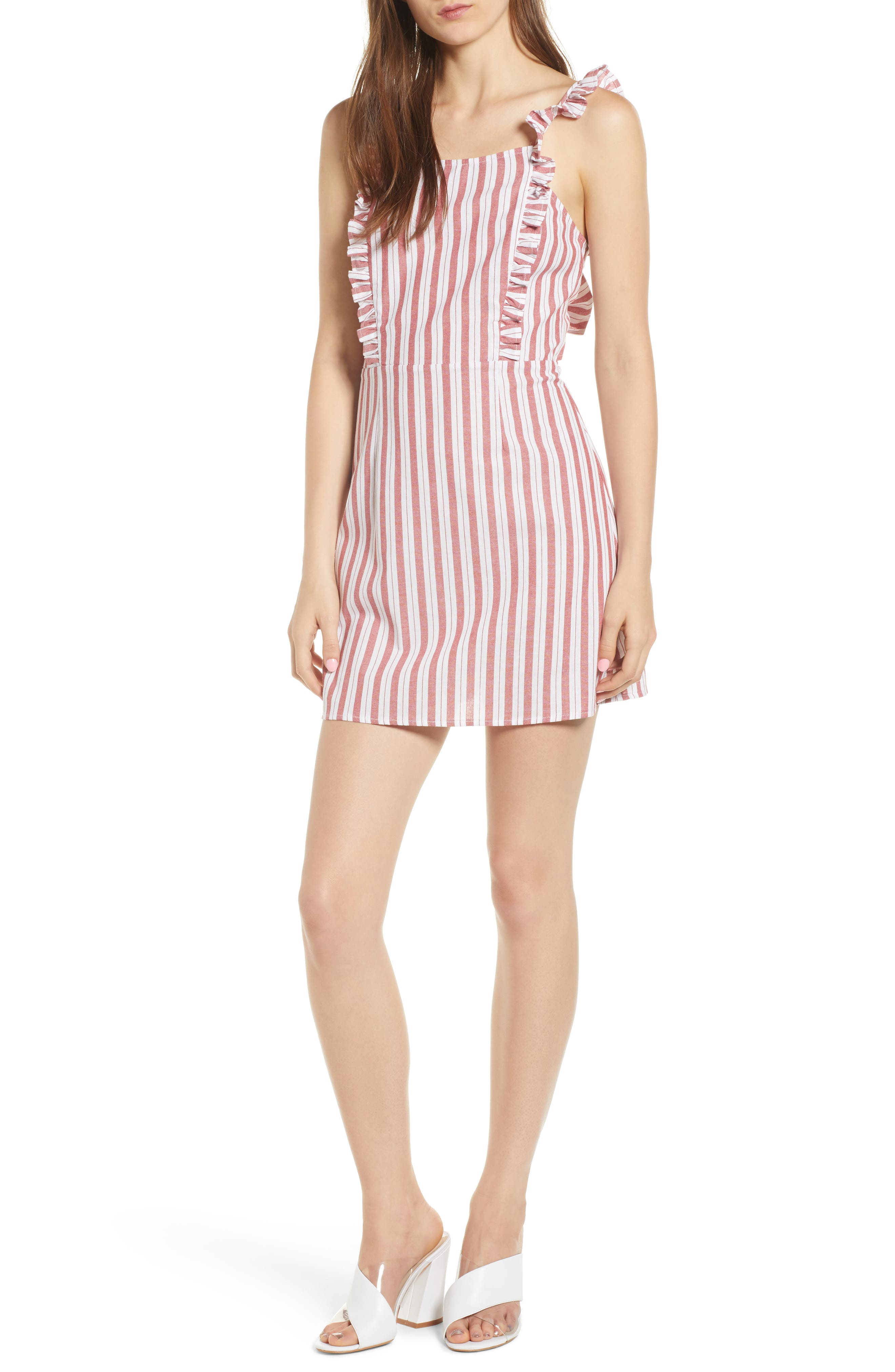Acacia Stripe Ruffle Dress,                             Main thumbnail 1, color,                             White W Red