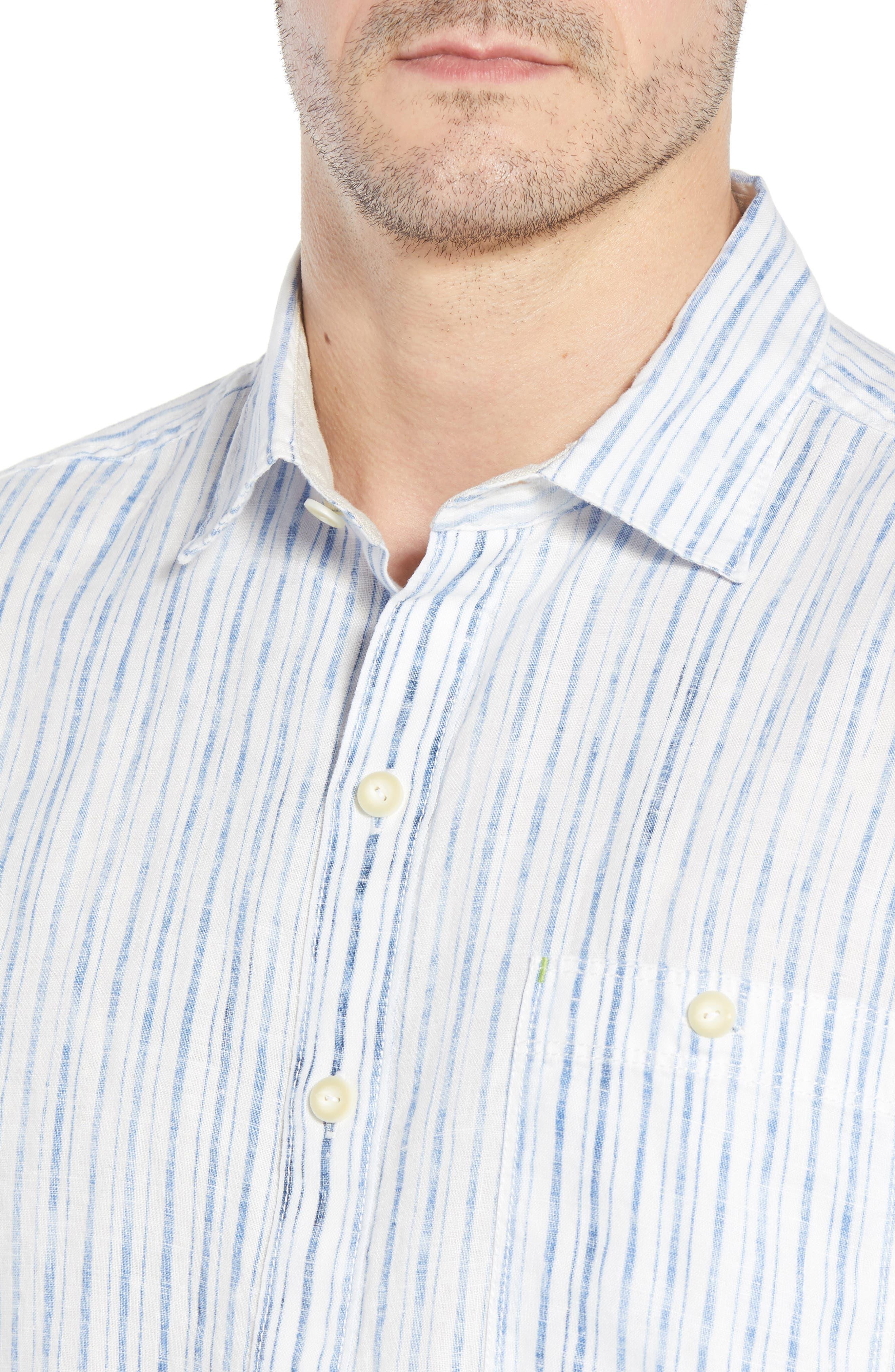 Del Soul Stripe Linen Sport Shirt,                             Alternate thumbnail 2, color,                             Blue Spark