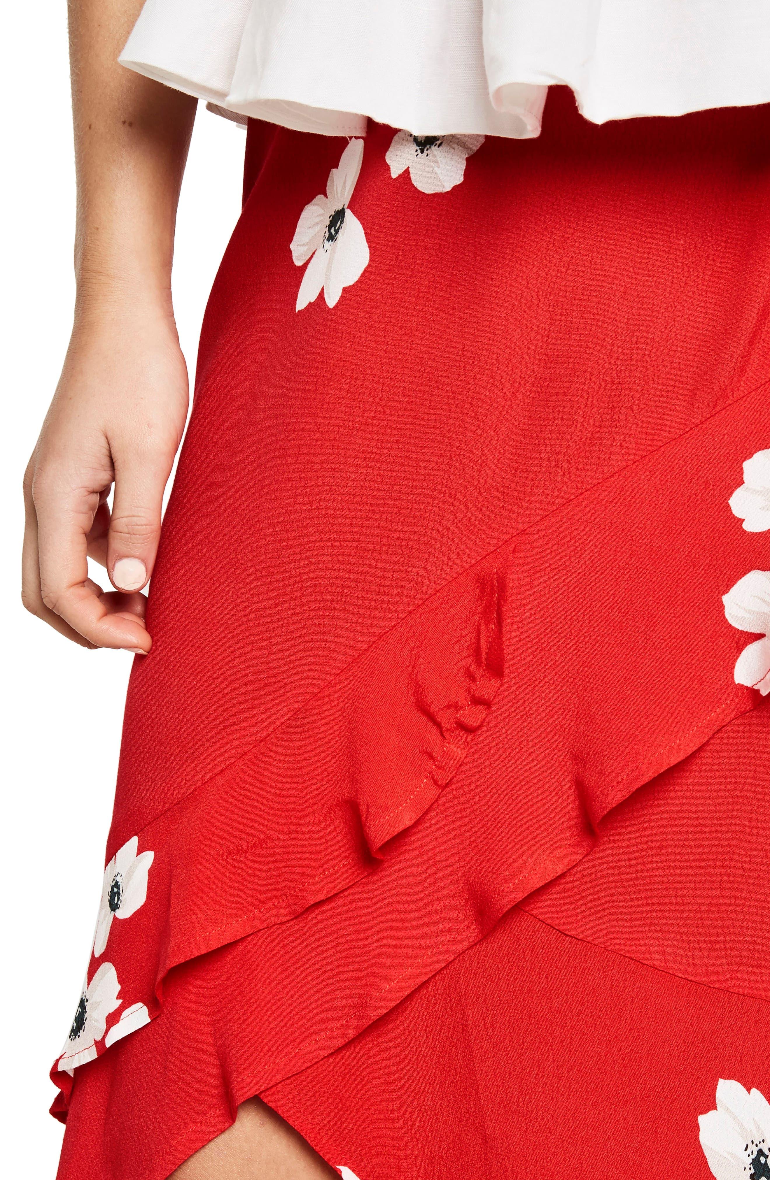 Freida Ruffle Skirt,                             Alternate thumbnail 4, color,                             Poppy