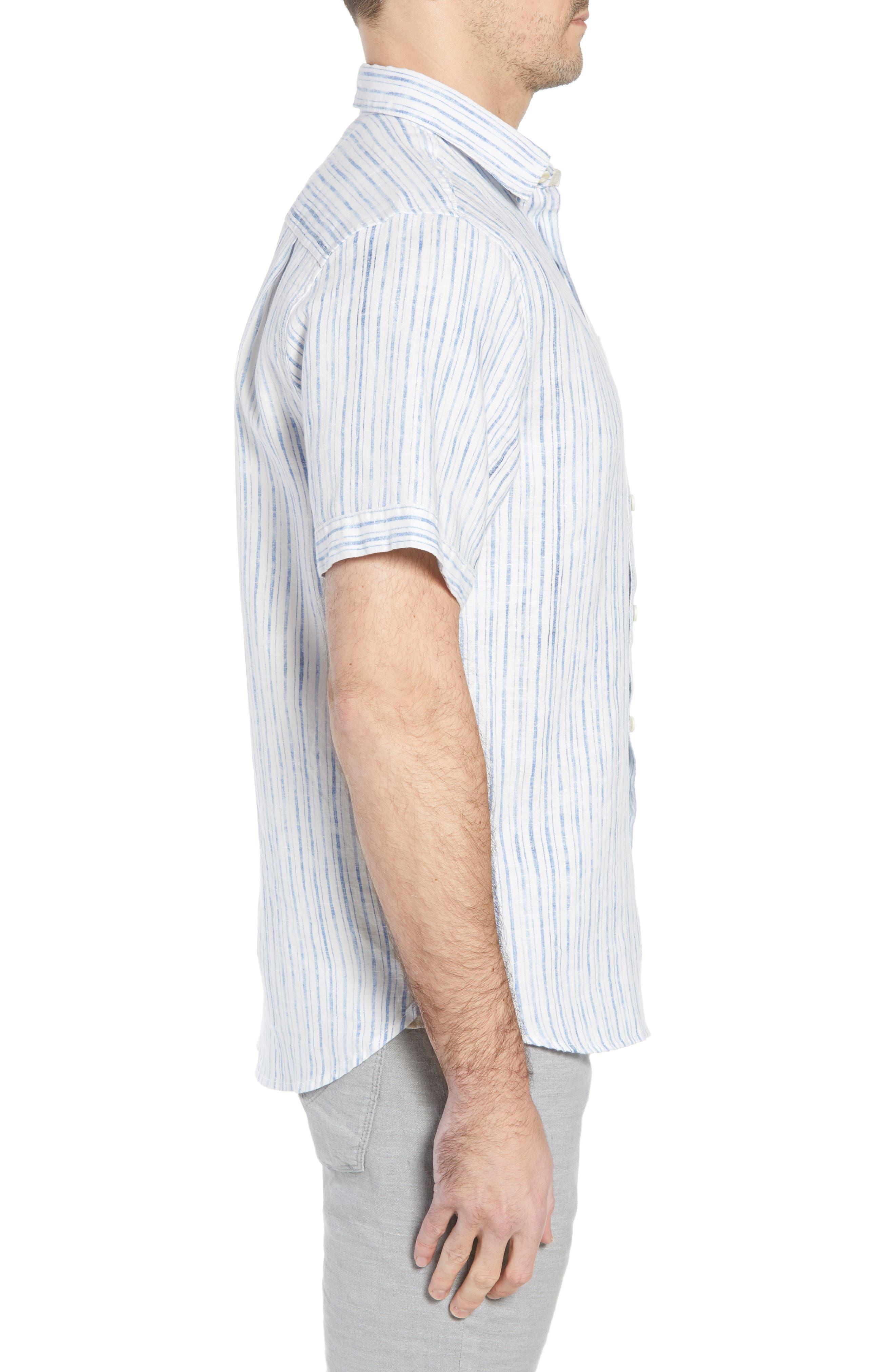 Del Soul Stripe Linen Sport Shirt,                             Alternate thumbnail 4, color,                             Blue Spark