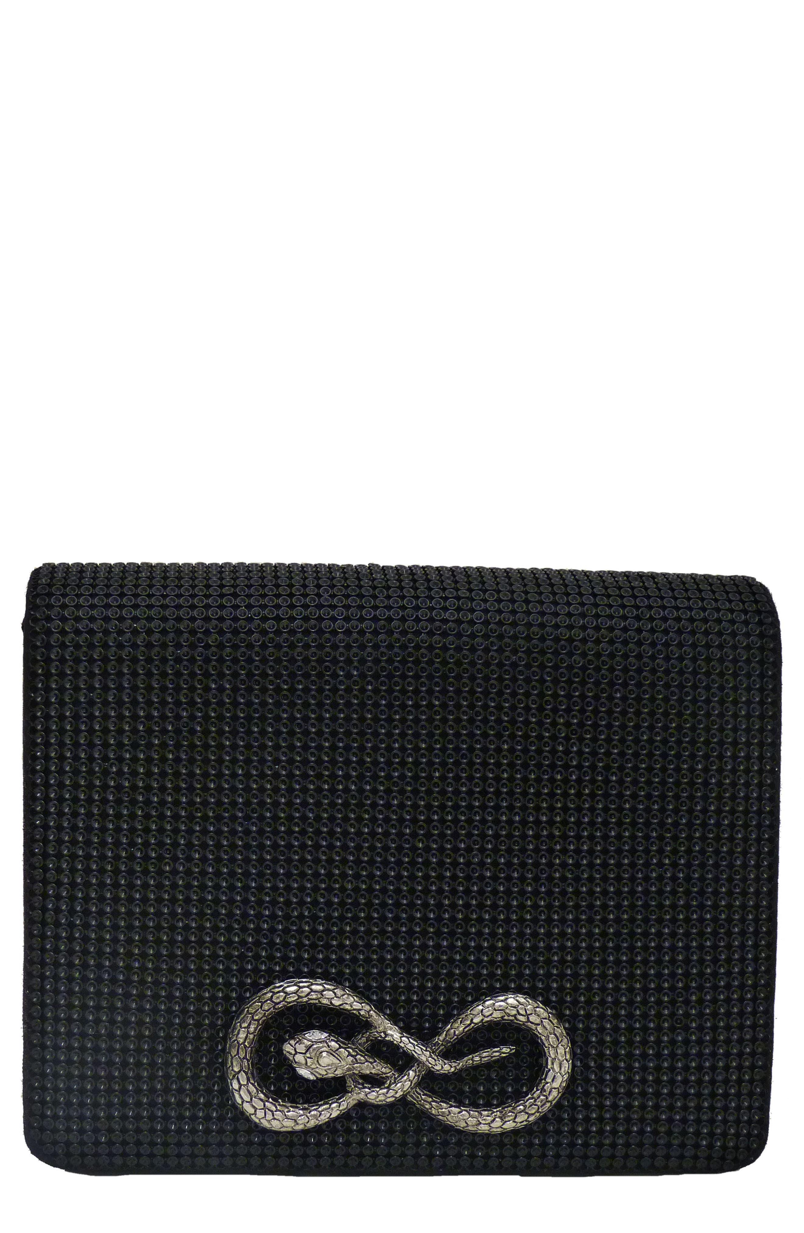 Serpent Seville Mesh Clutch,                         Main,                         color, Black
