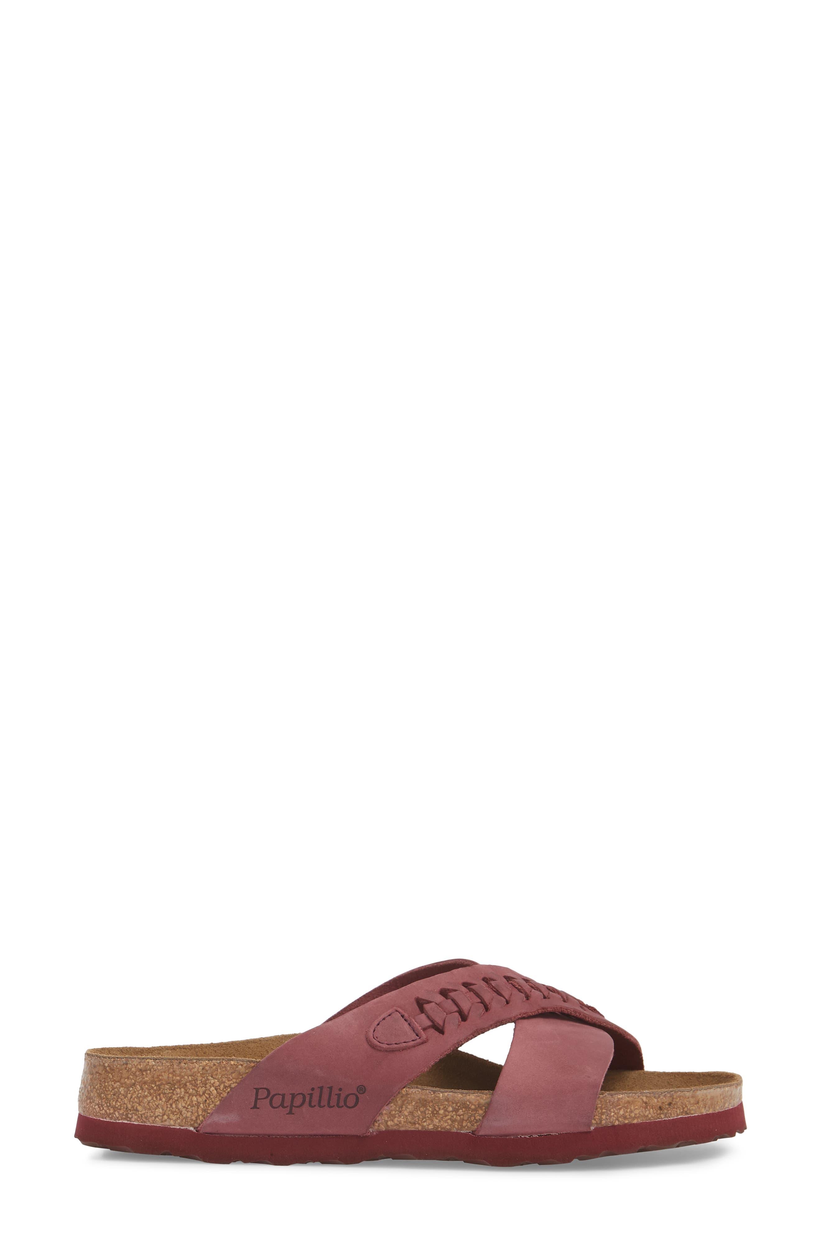 Papillio by Birkenstock Daytona Slide Sandal,                             Alternate thumbnail 3, color,                             Woven Wine Nubuck
