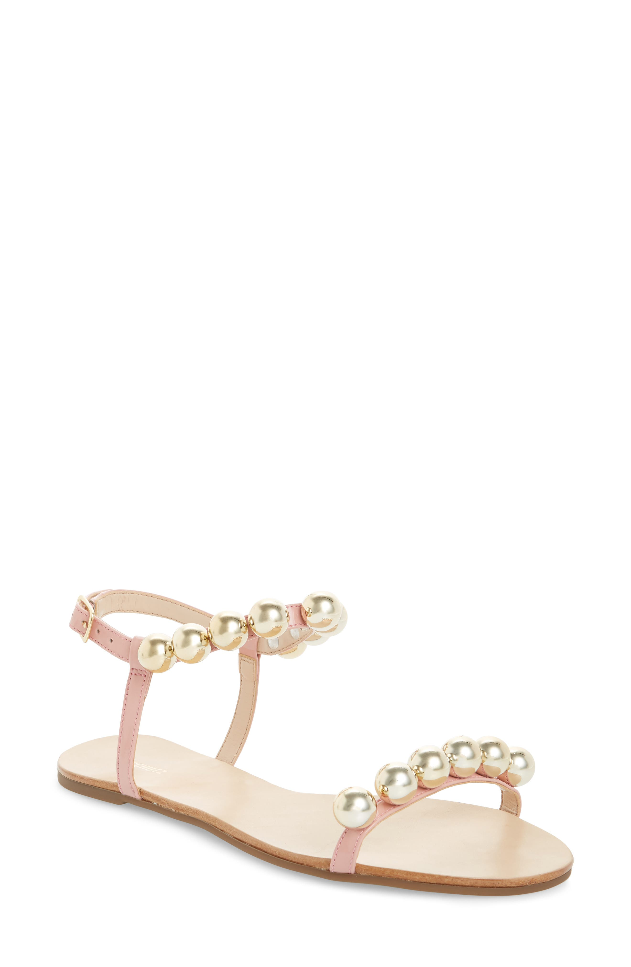 Hebe Ankle Strap Sandal,                             Main thumbnail 1, color,                             Poppy Rose Leather