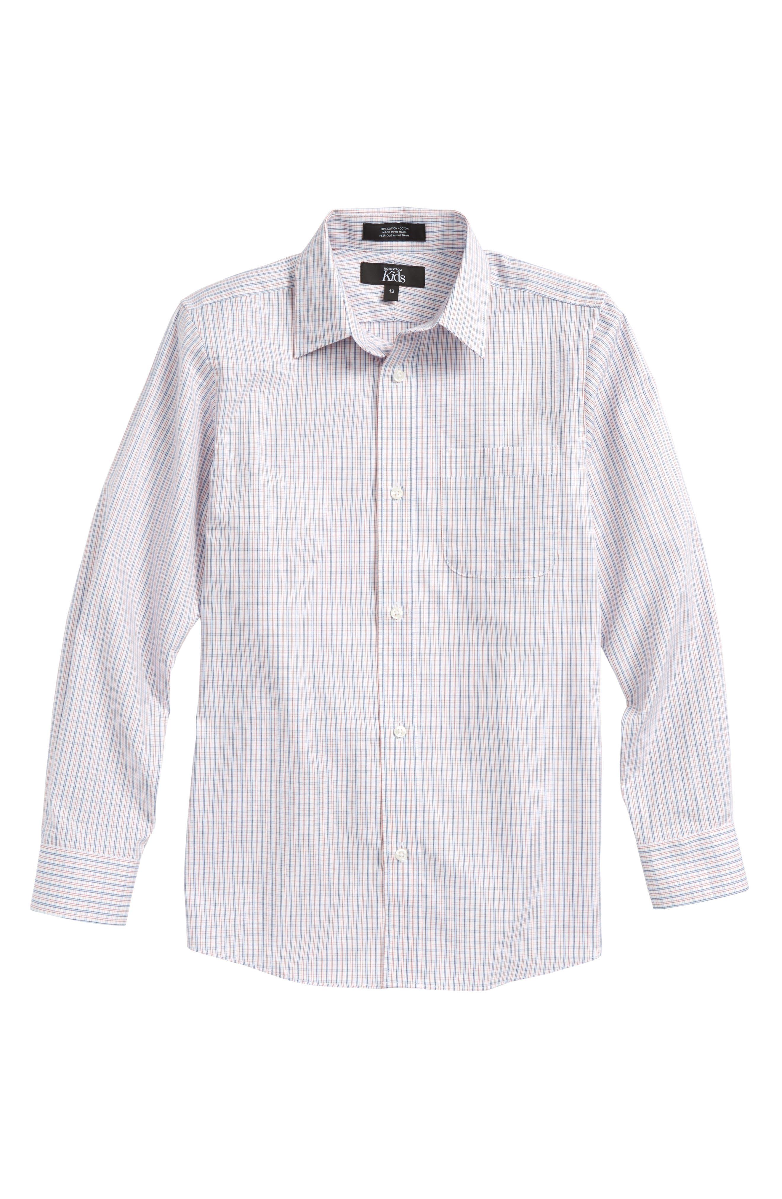 Plaid Dress Shirt,                         Main,                         color, White- Blue Plaid
