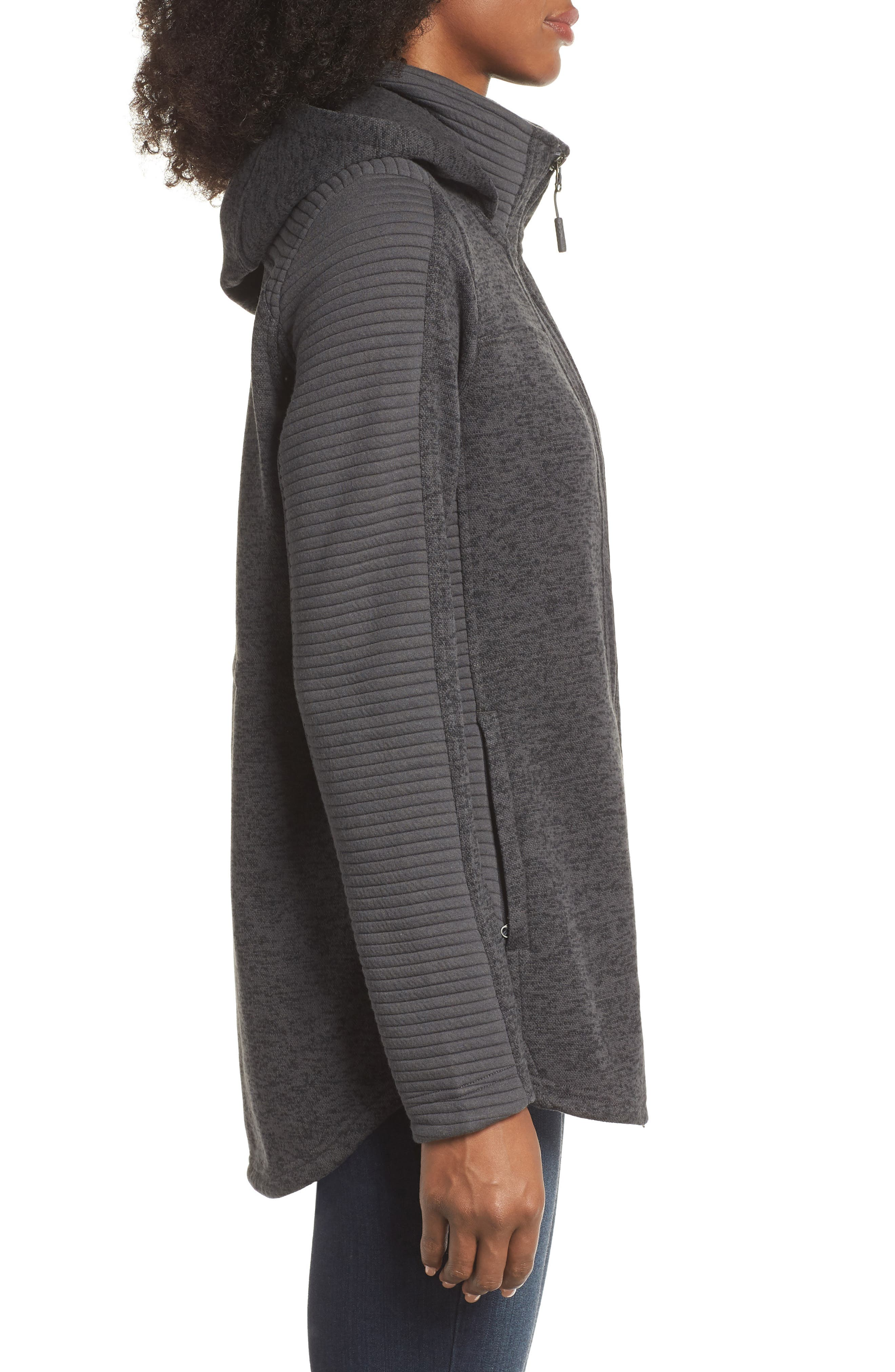 Indi 2 Hooded Knit Parka,                             Alternate thumbnail 6, color,                             Dark Grey Heather