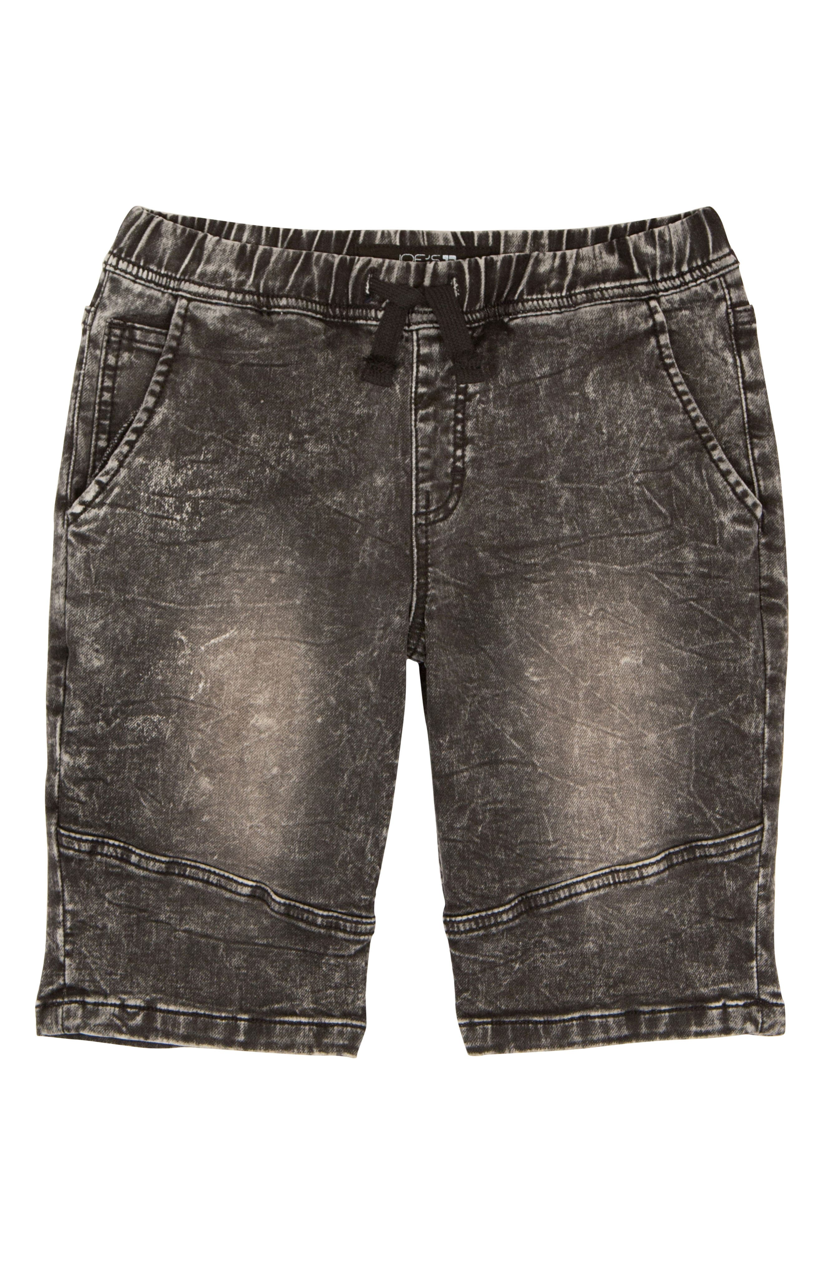 The Jogger Stretch Denim Shorts,                         Main,                         color, Black Vintage