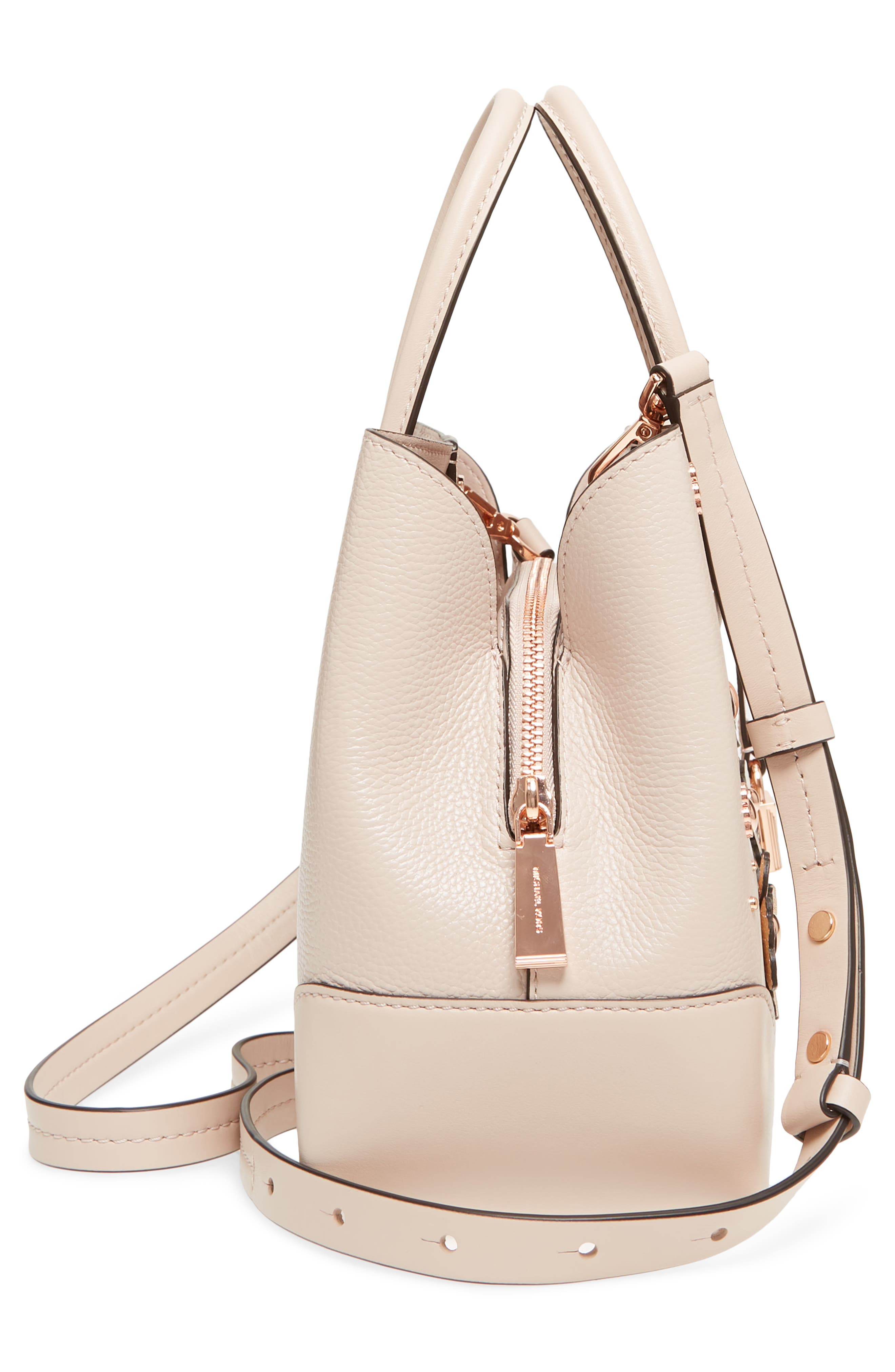 Small Mercer Gallery Leather Satchel,                             Alternate thumbnail 5, color,                             Soft Pink Multi